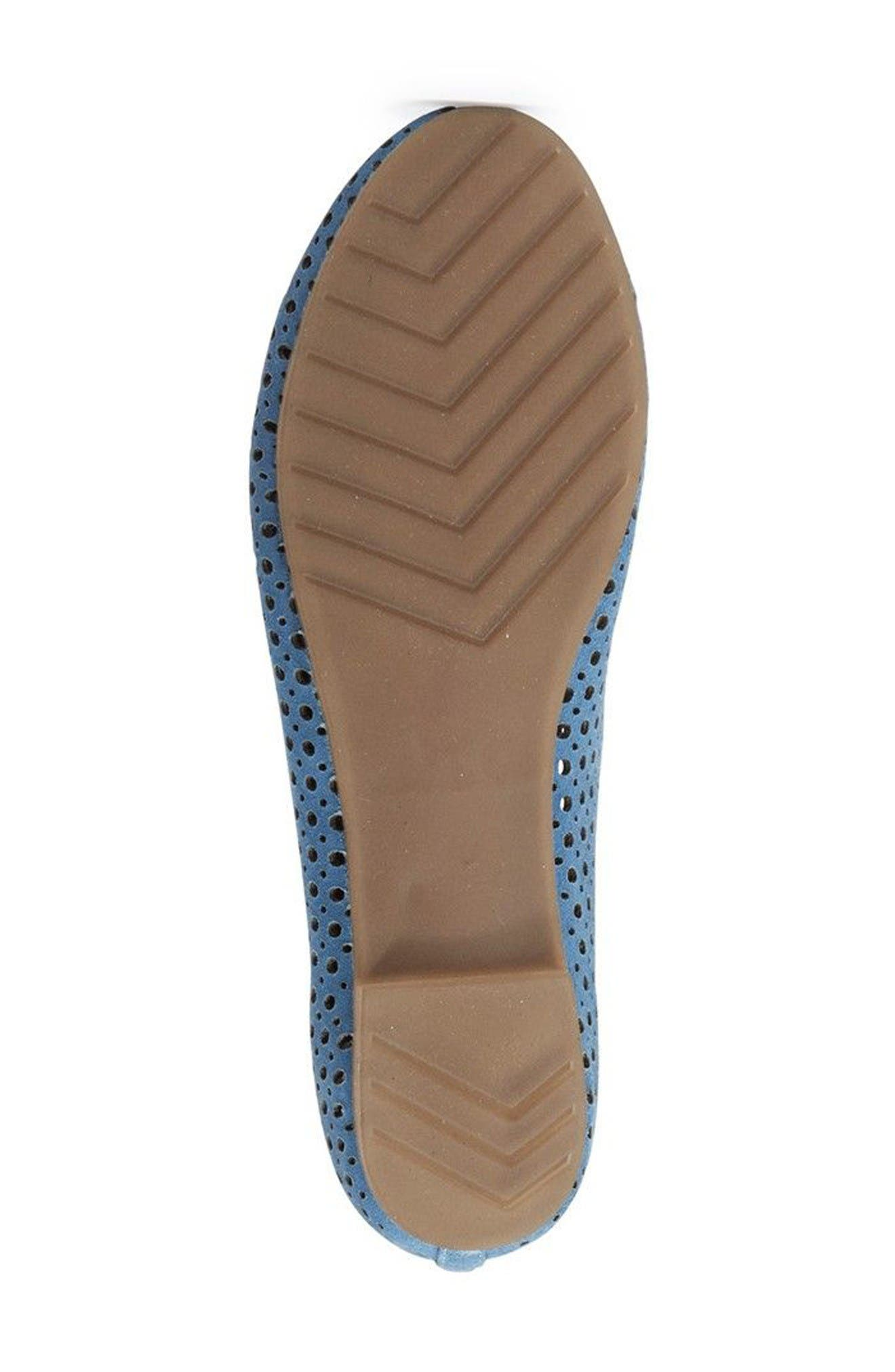 Carlee Scalloped Flat,                             Alternate thumbnail 4, color,                             Sky Blue Suede