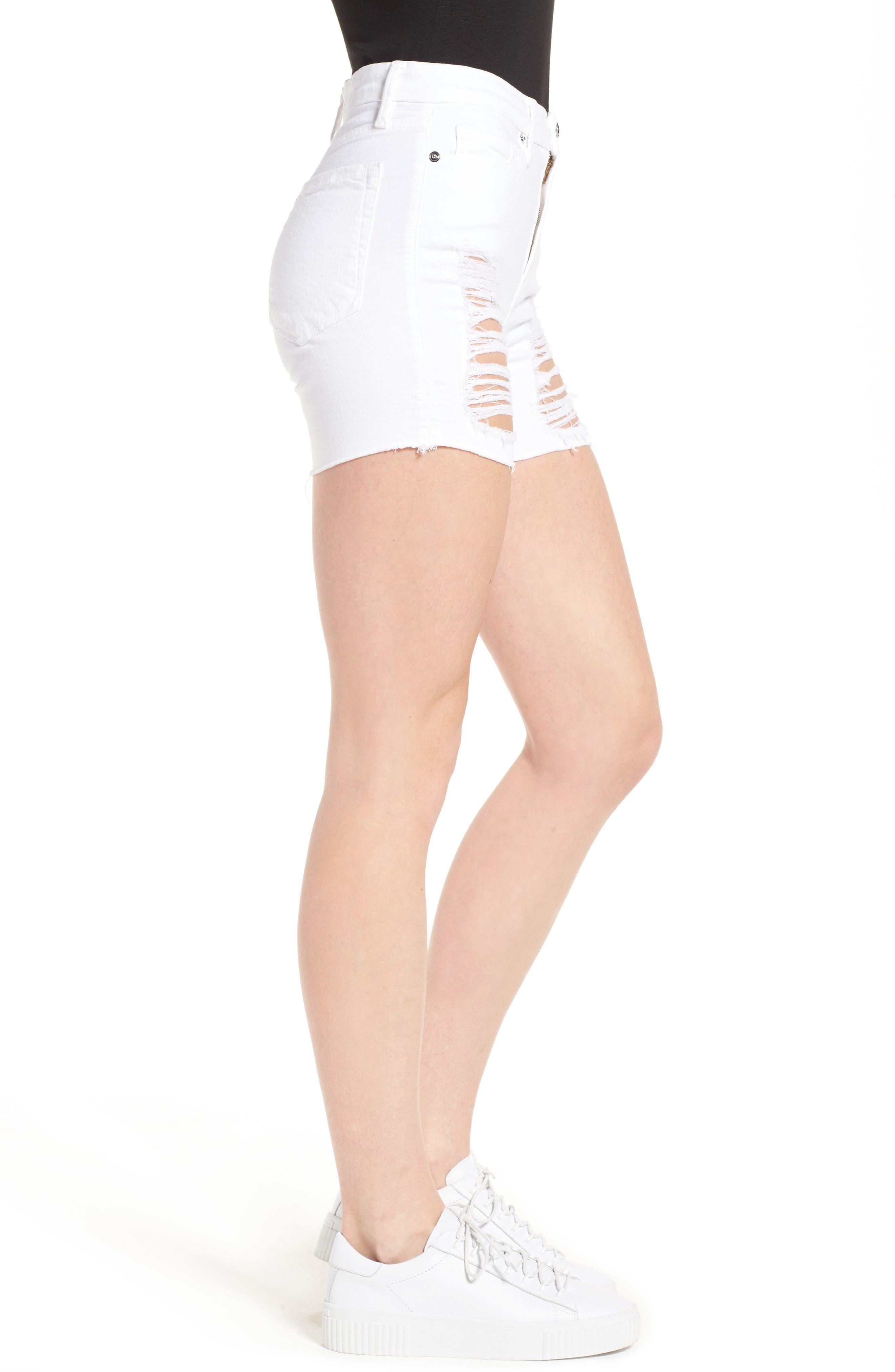 Destroyed Cutoff Denim Shorts,                             Alternate thumbnail 3, color,                             White 004