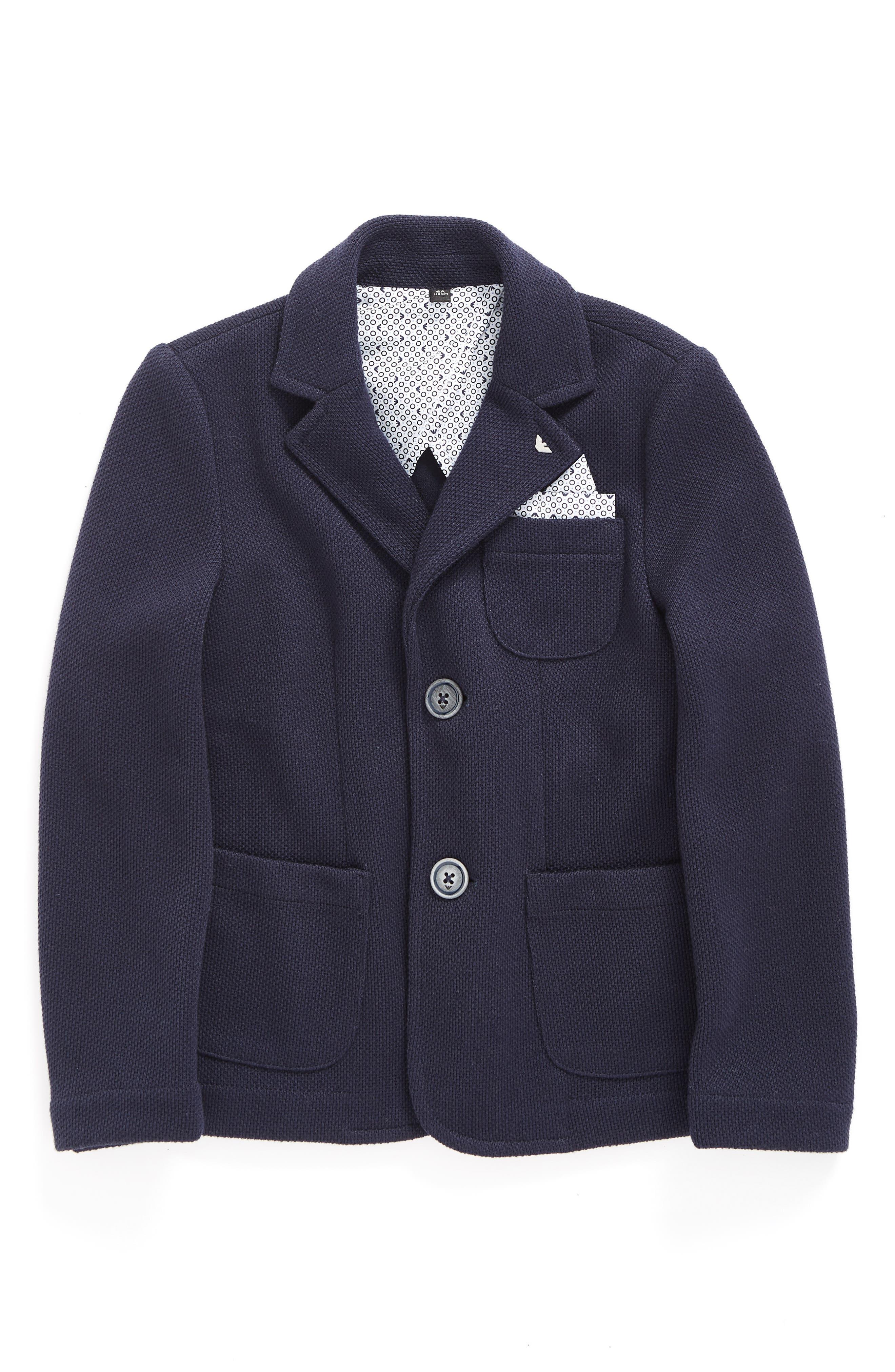 Main Image - Armani Junior Knit Blazer with Pocket Square (Little Boys & Big Boys)