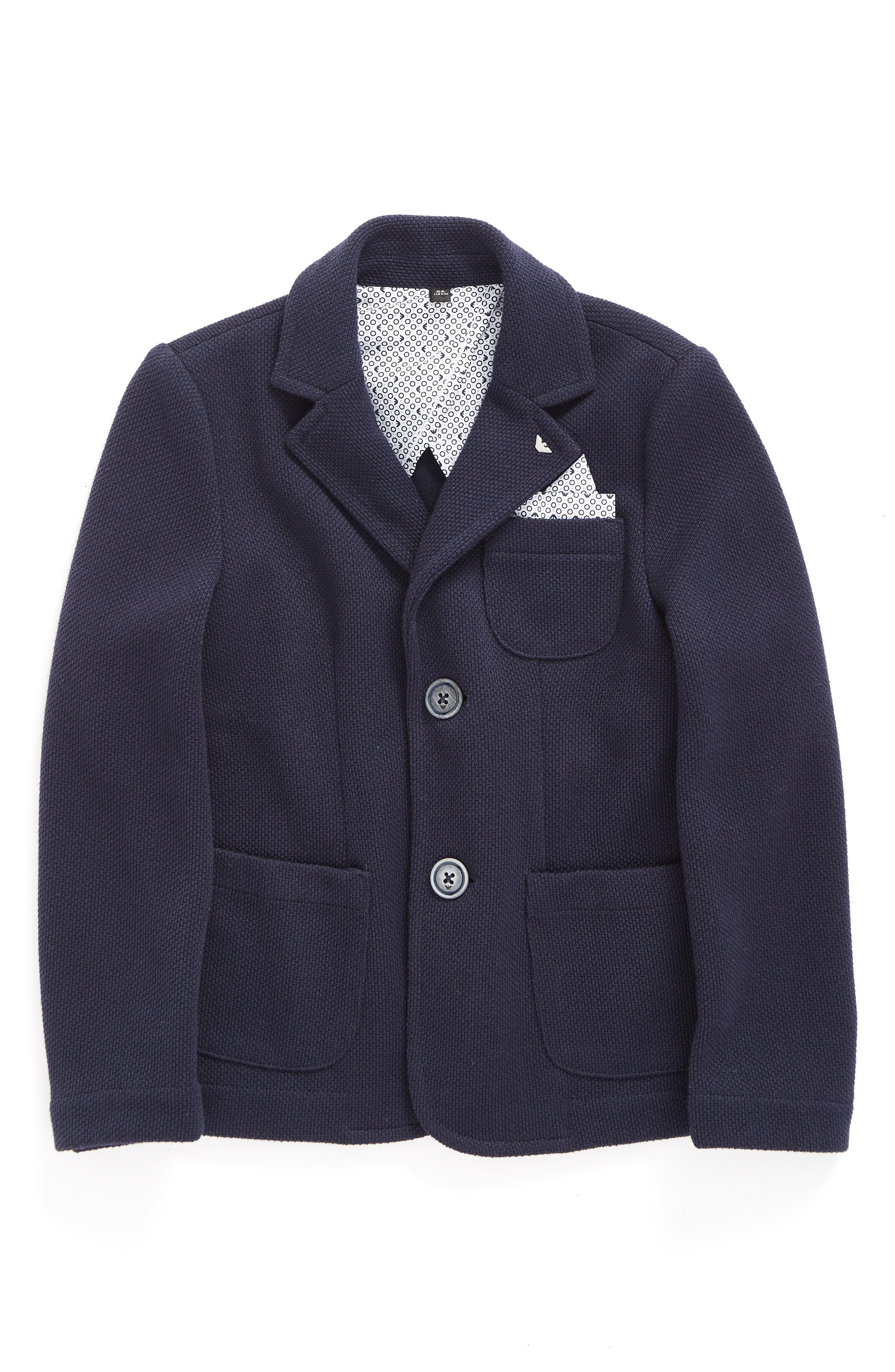 Knit Blazer with Pocket Square,                         Main,                         color, Navy