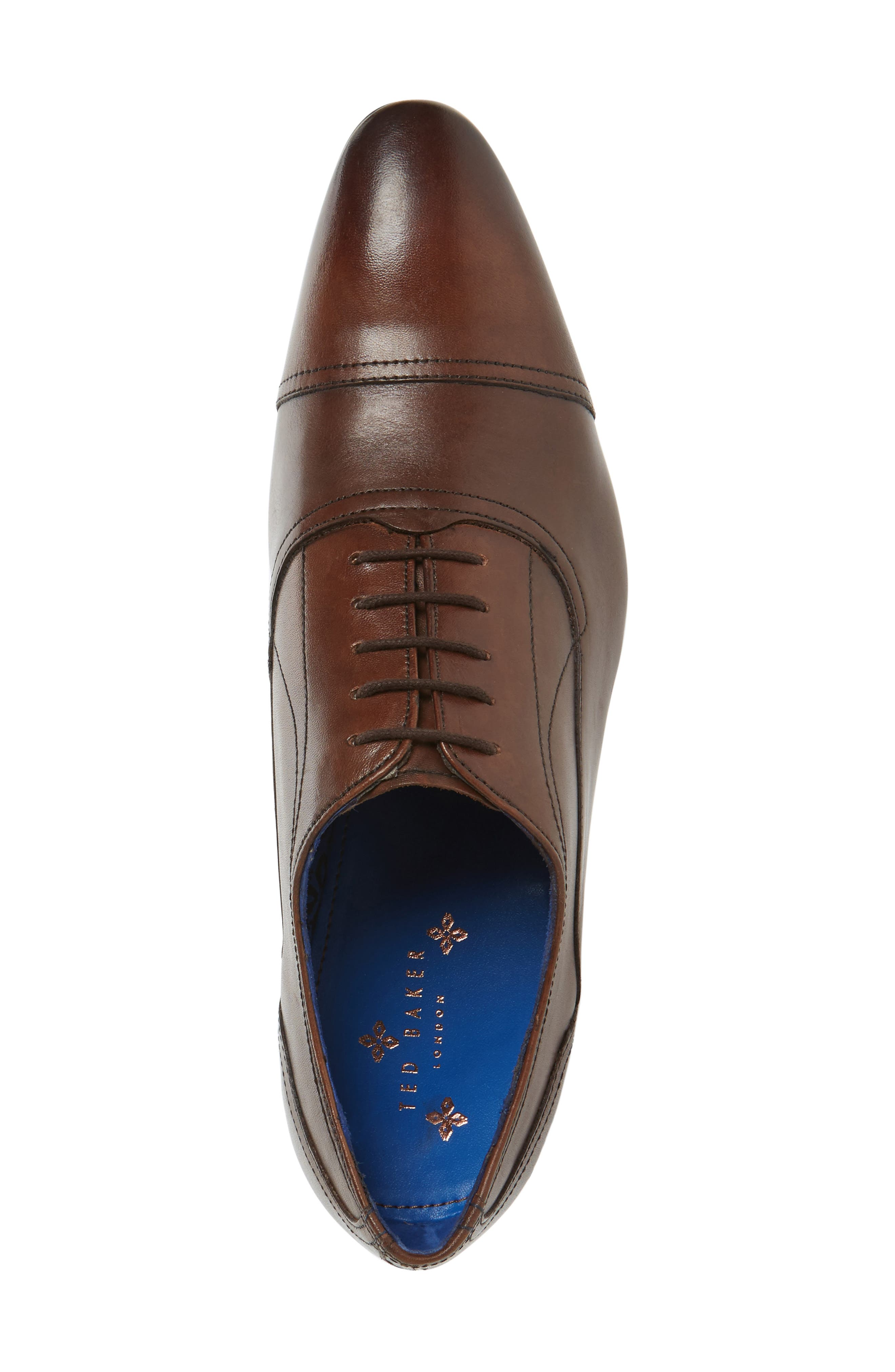 'Umbber' Cap Toe Oxford,                             Alternate thumbnail 3, color,                             Brown Leather