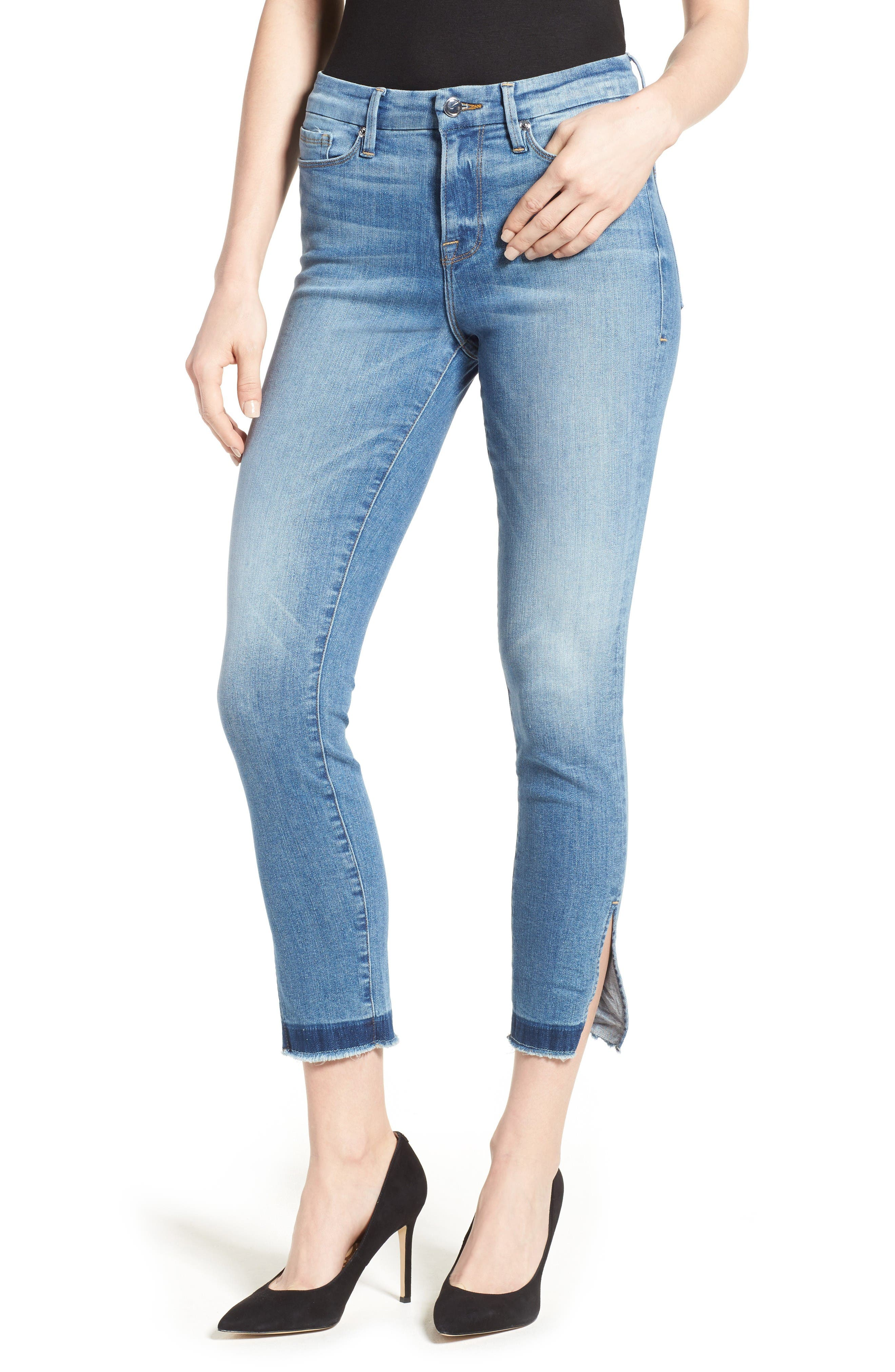 Alternate Image 1 Selected - Good American Good Legs High Rise Split Hem Crop Skinny Jeans (Blue 024) (Extended Sizes)