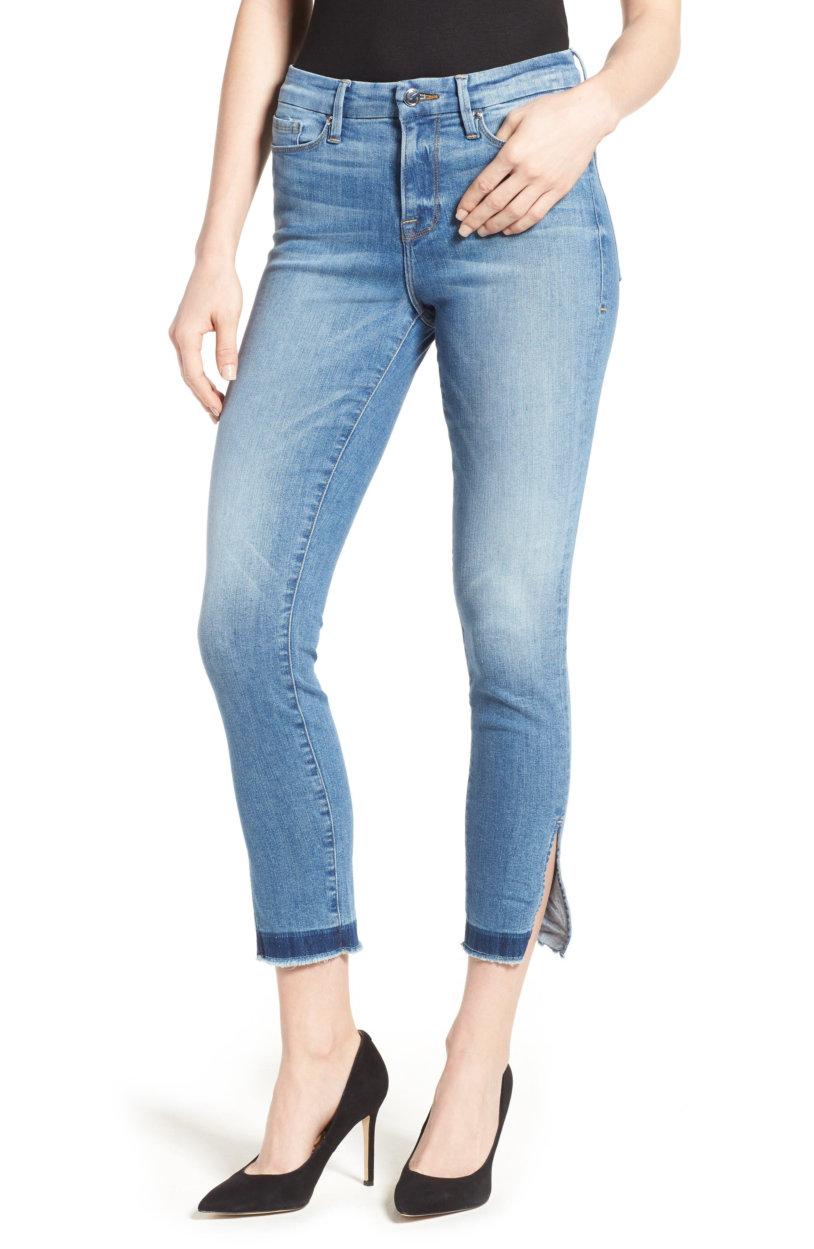 Alternate Image 1 Selected - Good American Good Legs High Rise Split Hem Crop Skinny Jeans (Blue 024) (Regular & Plus Size)