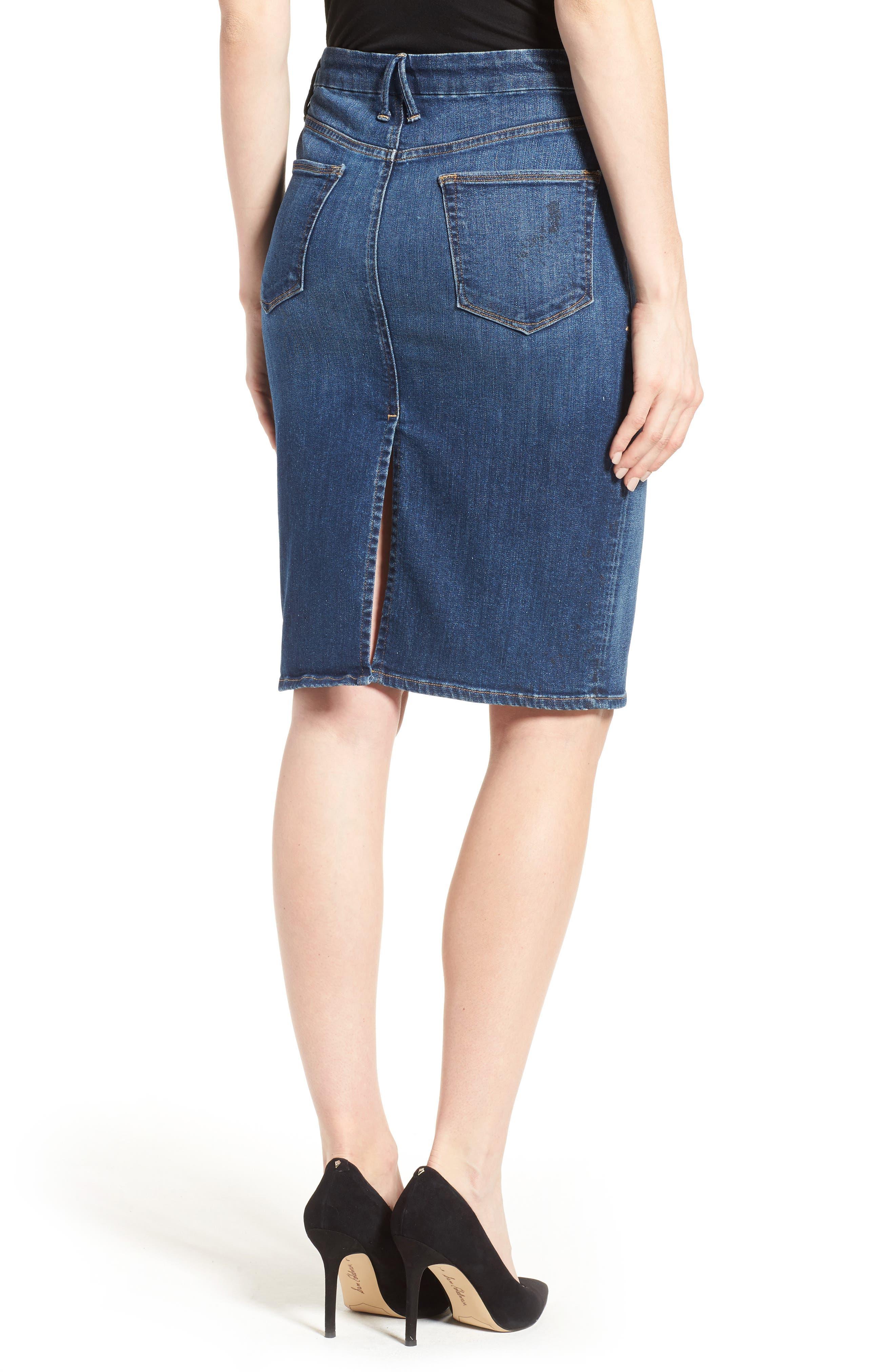 Alternate Image 5  - Good American High Rise Denim Pencil Skirt (Blue 046) (Regular & Plus Size)