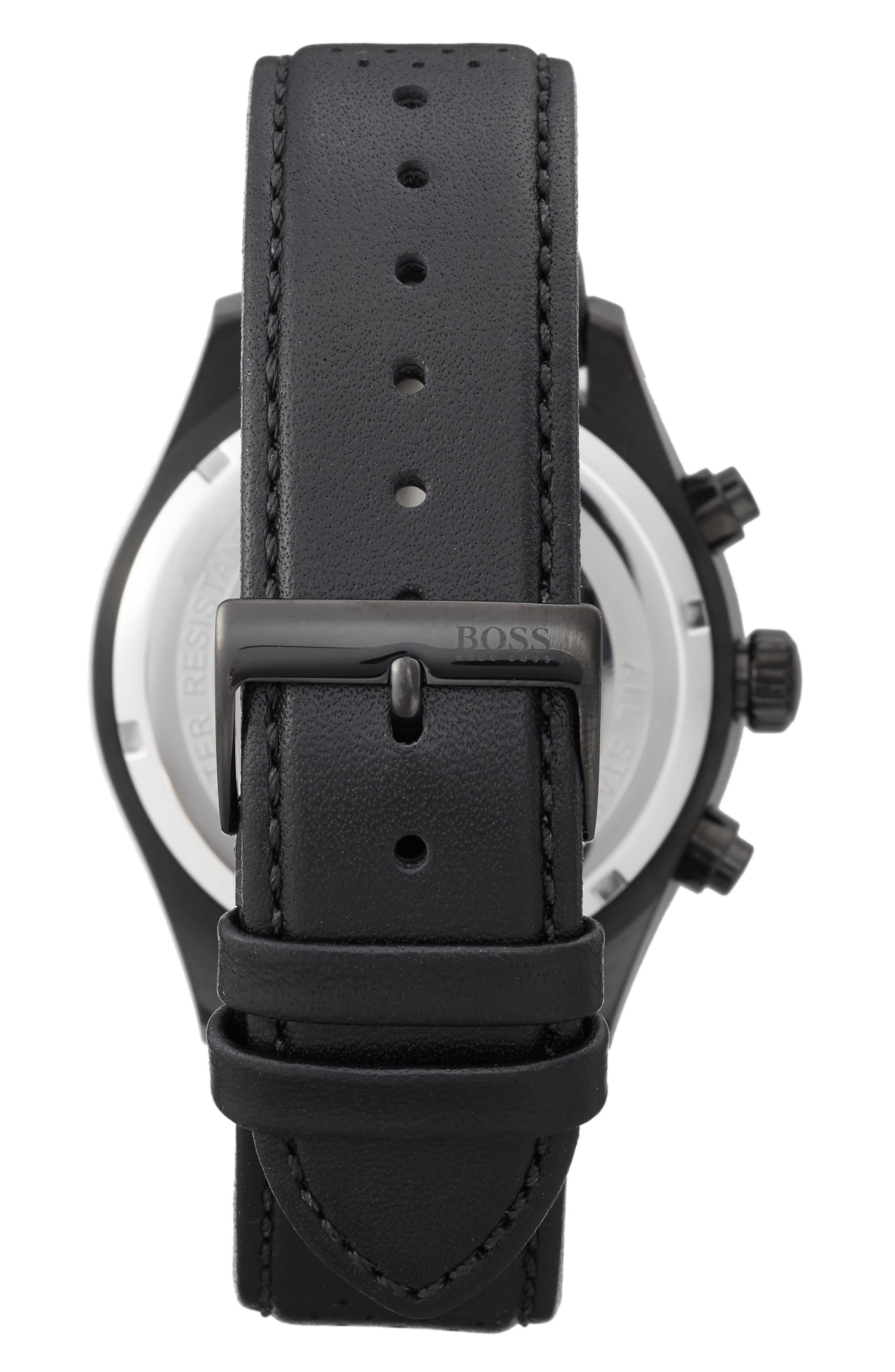 Alternate Image 2  - BOSS Grand Prix Leather Strap Chronograph Watch, 44mm
