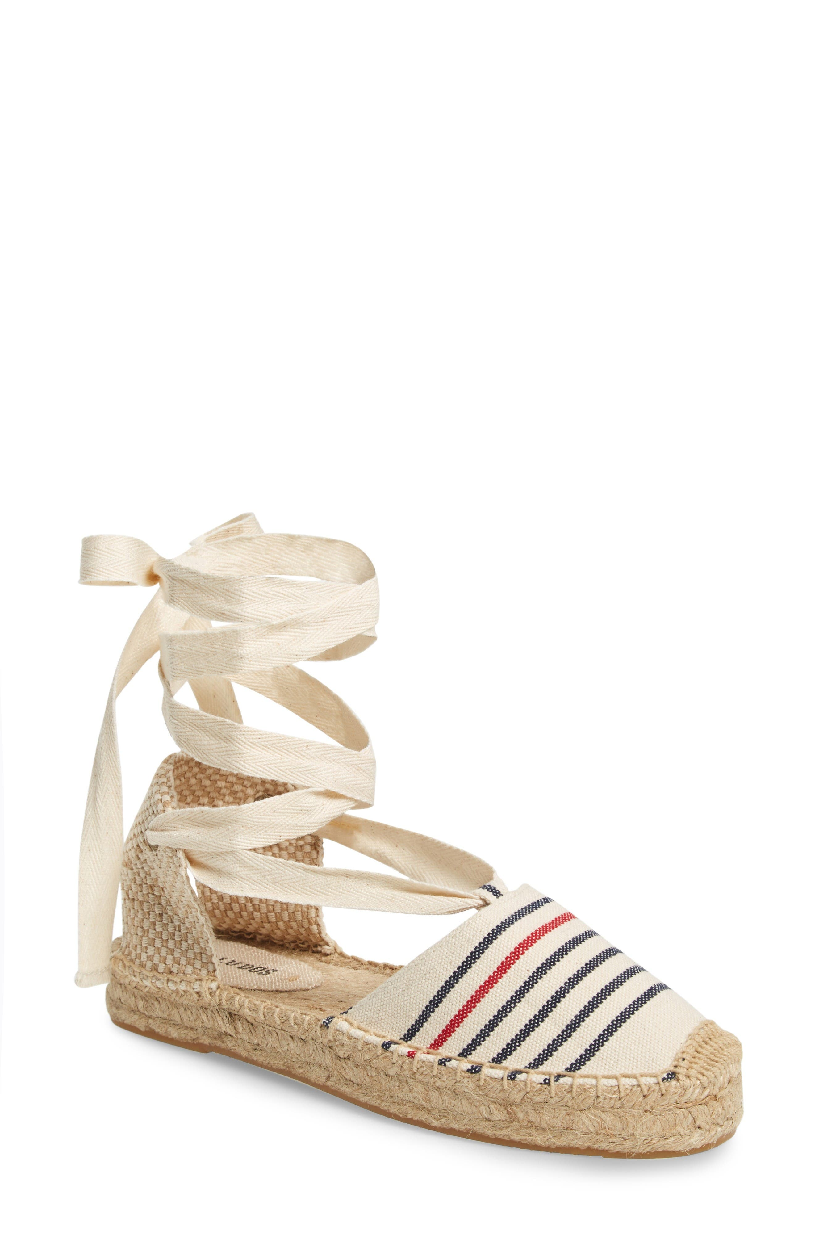 Gladiator Sandal,                         Main,                         color, Red Navy Canvas