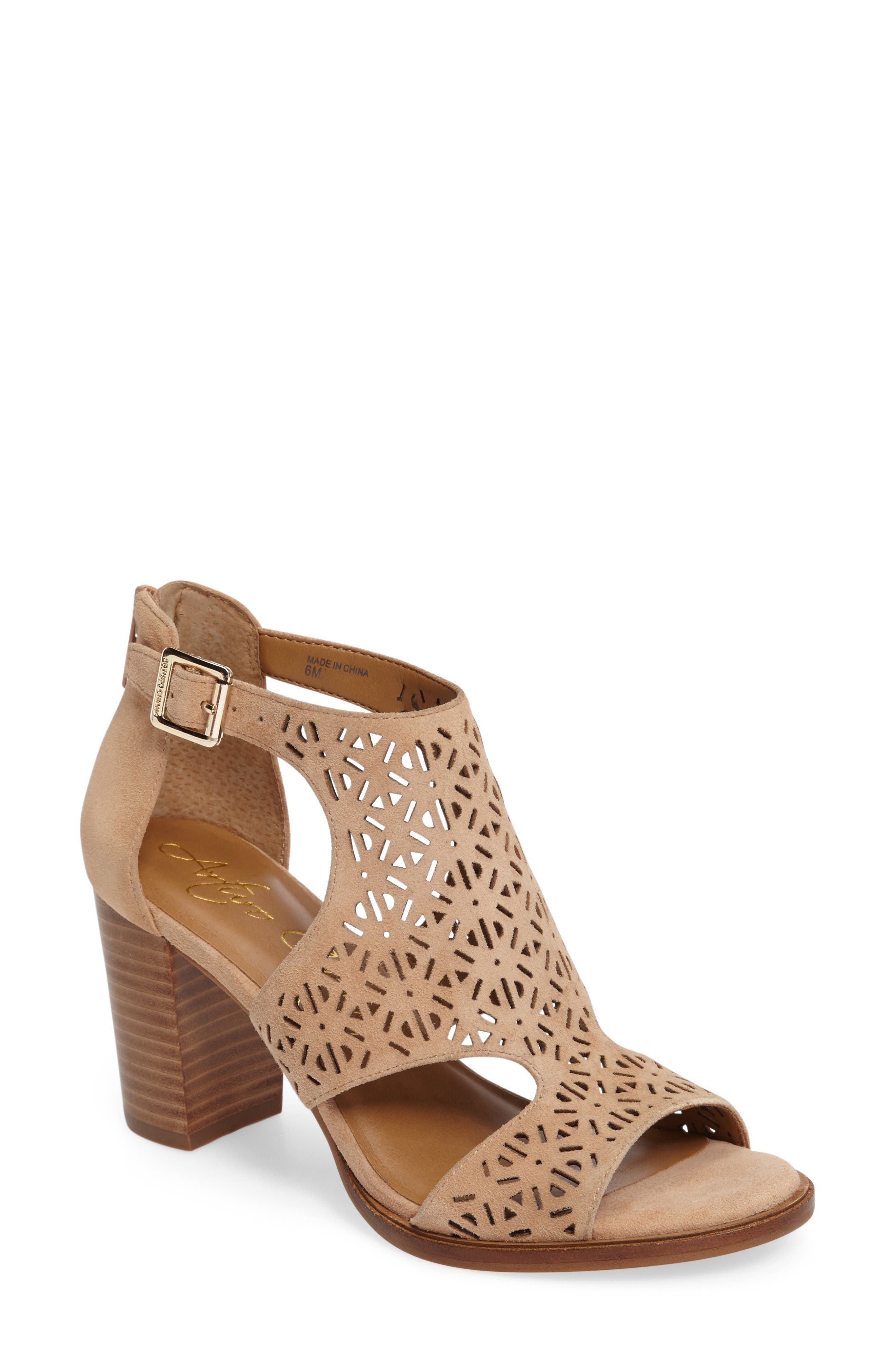 Edythe Block Heel Sandal,                         Main,                         color, Tan Suede