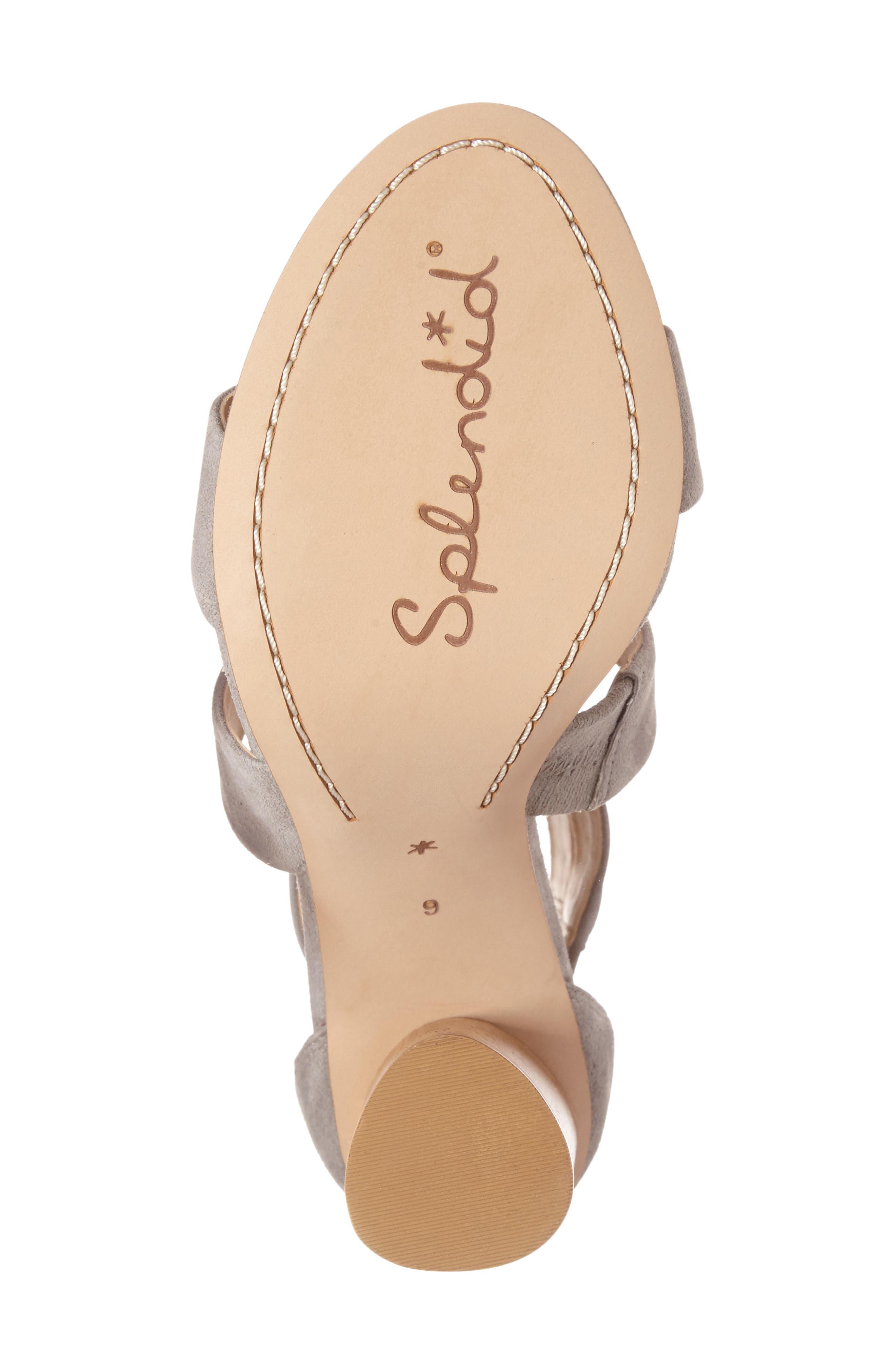 Jara Statement Heel Sandal,                             Alternate thumbnail 4, color,                             Light Grey Suede