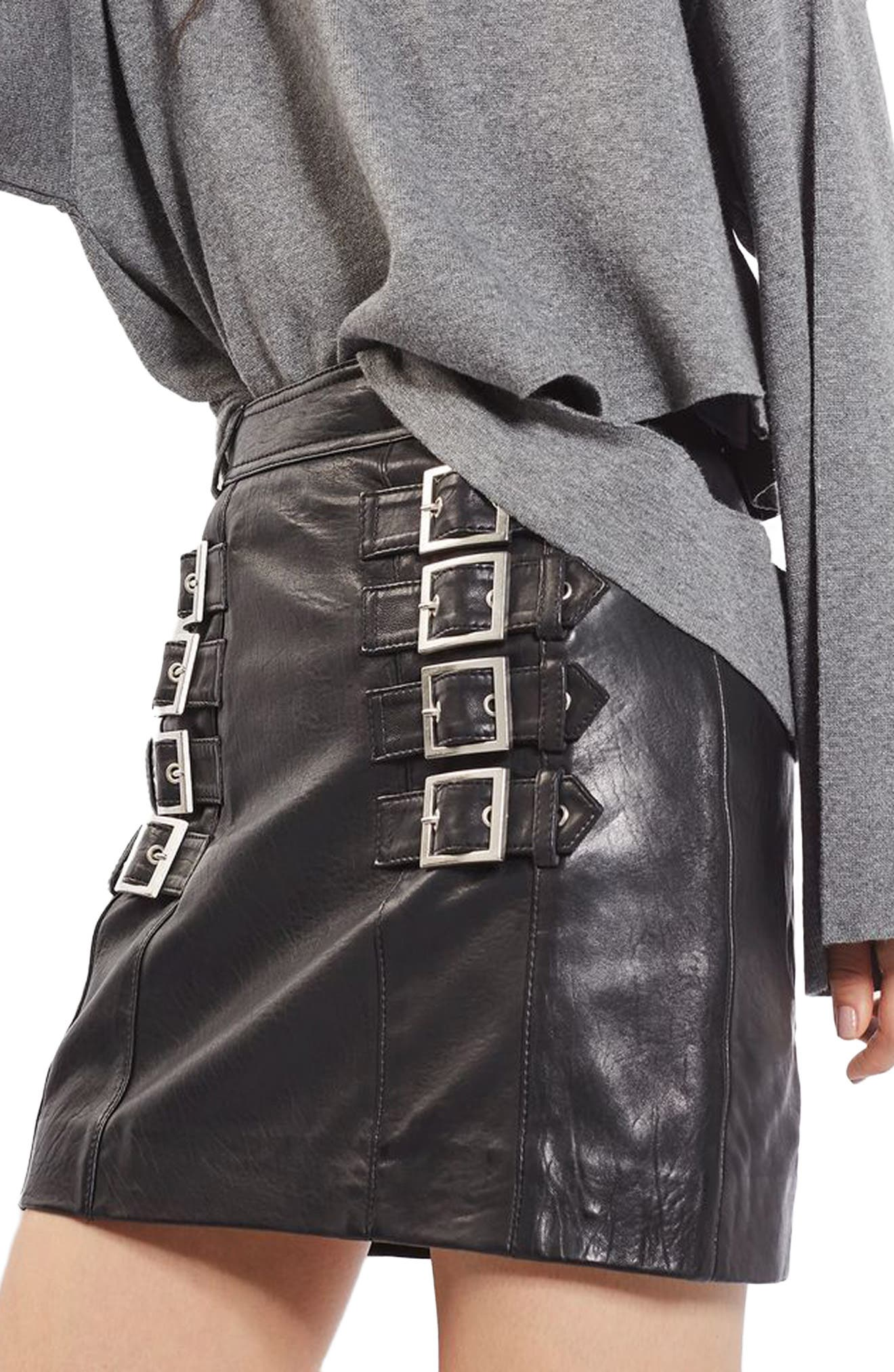 Main Image - Topshop Buckle Detail Leather Miniskirt