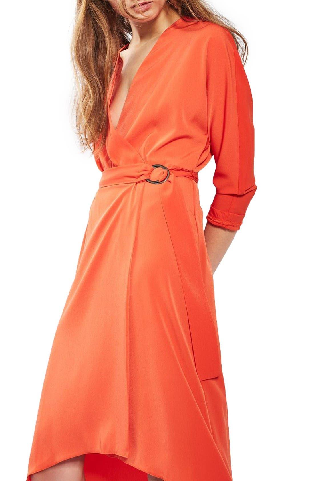 Alternate Image 1 Selected - Topshop O-Ring Wrap Midi Dress