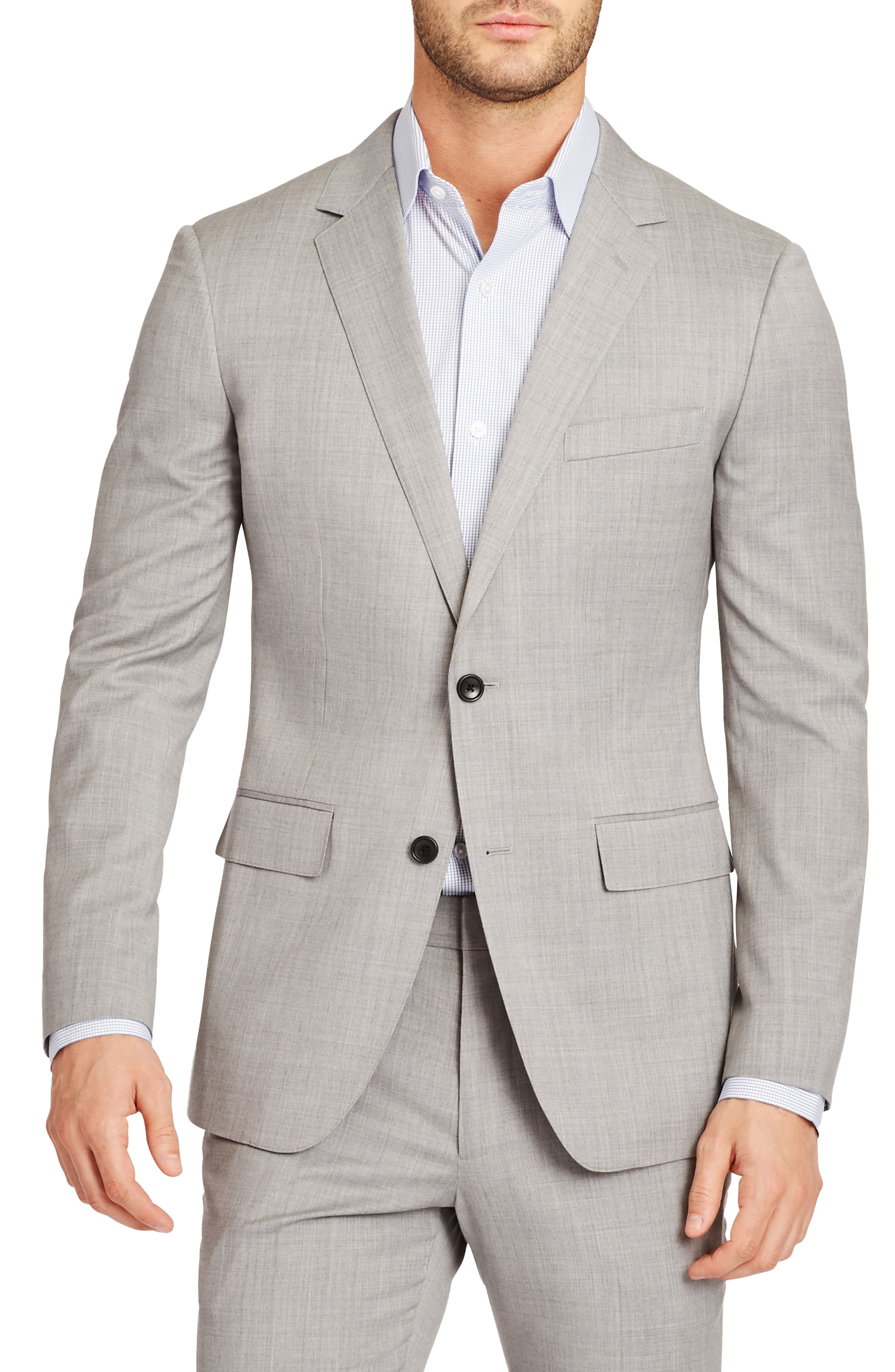 Jetsetter Trim Fit Stretch Wool Blazer,                         Main,                         color, Light Grey