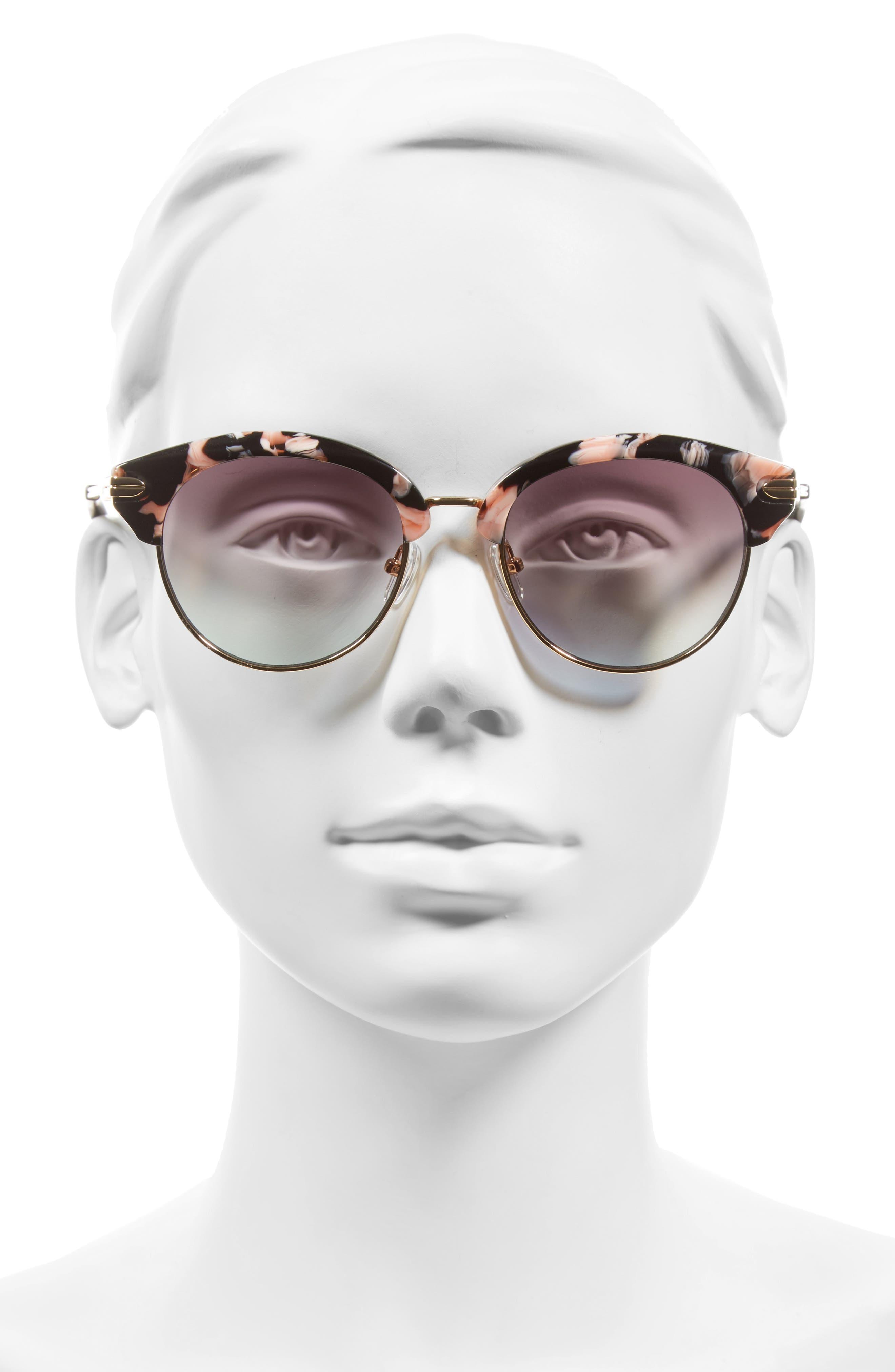 Bellevue 50mm Mirrored Sunglasses,                             Alternate thumbnail 4, color,                             Rose Tort/ Magenta Mirror