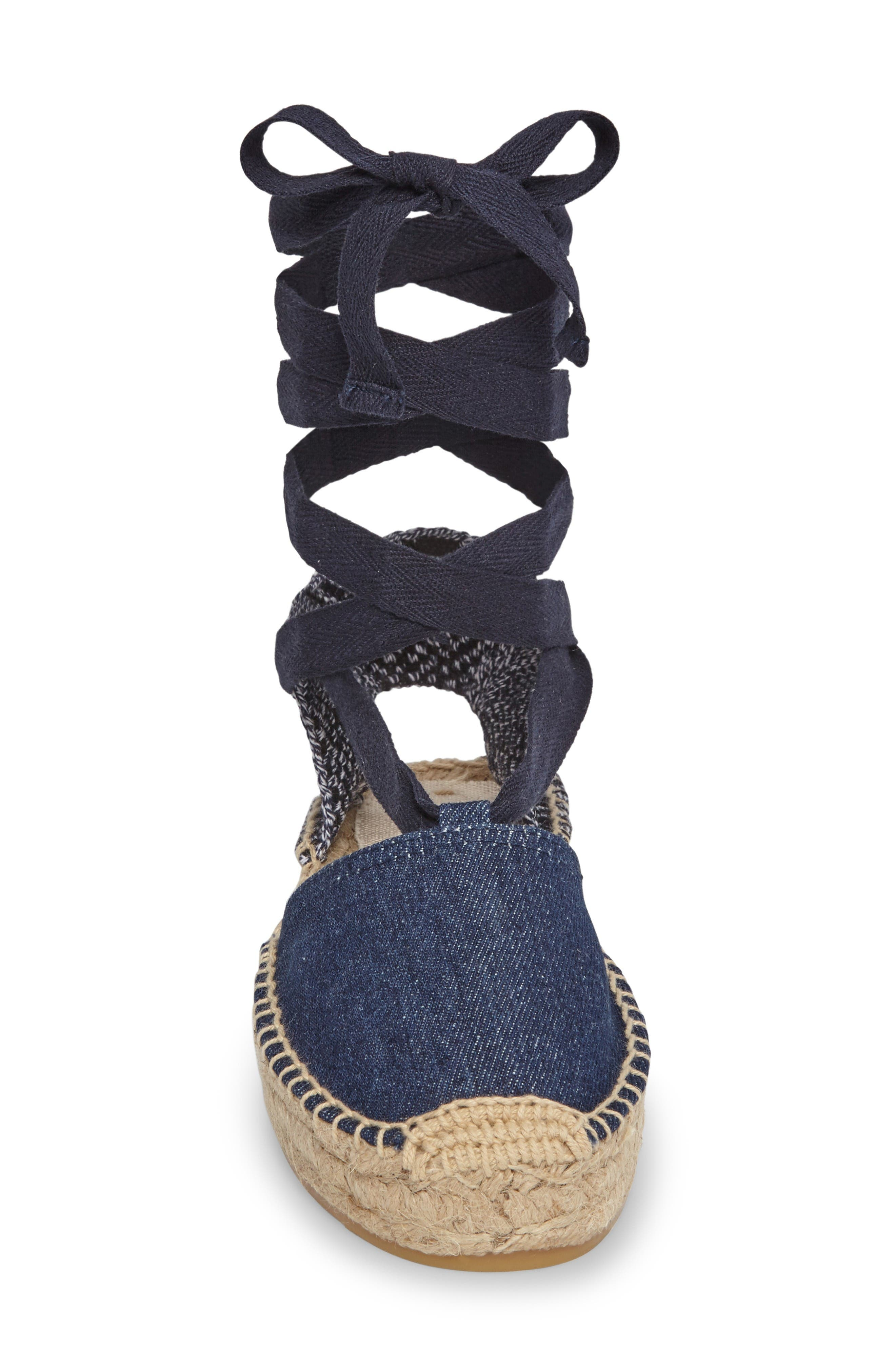 Gladiator Platform Espadrille,                             Alternate thumbnail 3, color,                             Dark Denim