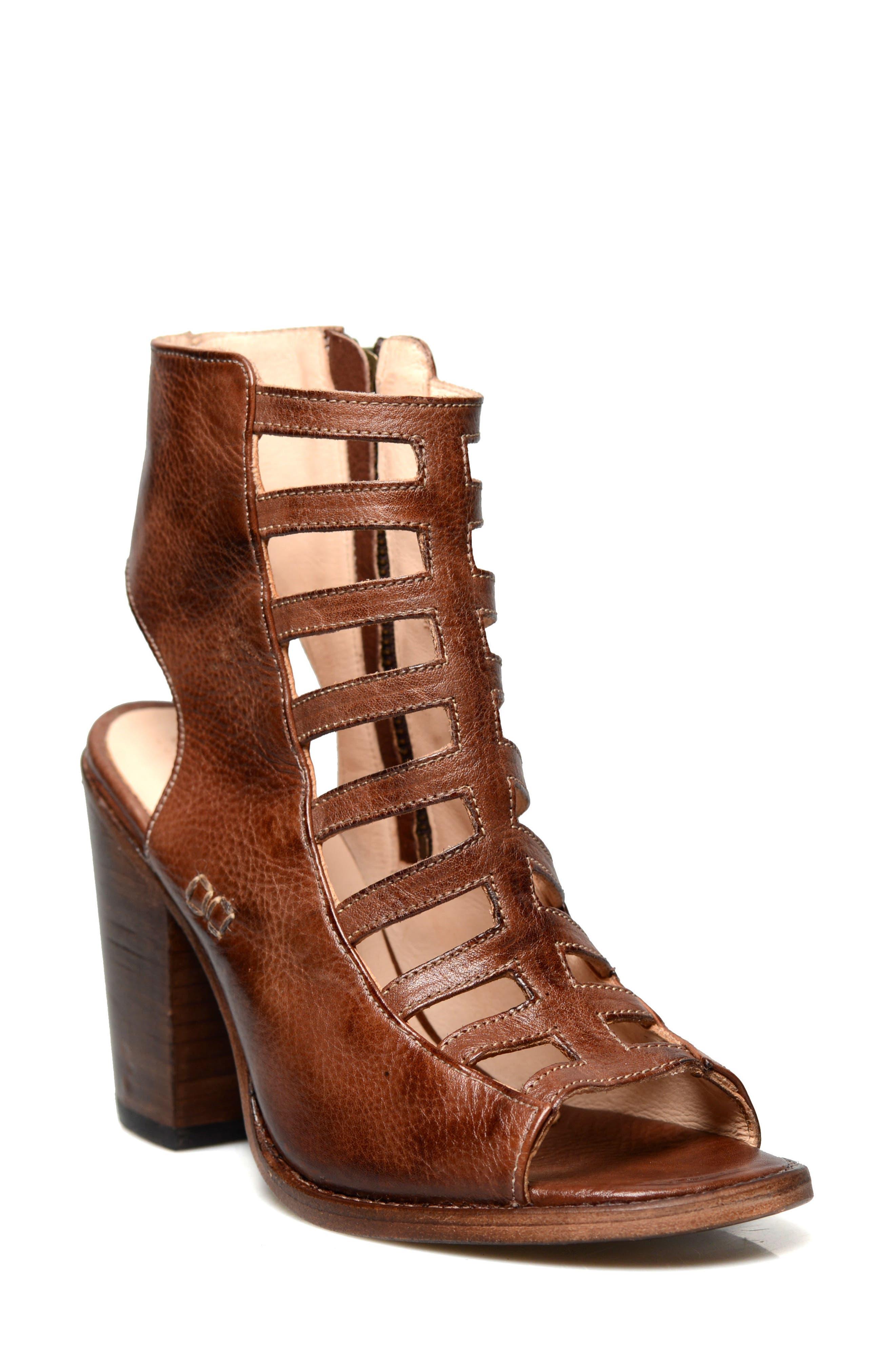 Occam Caged Sandal,                             Main thumbnail 1, color,                             Teak Rustic Leather