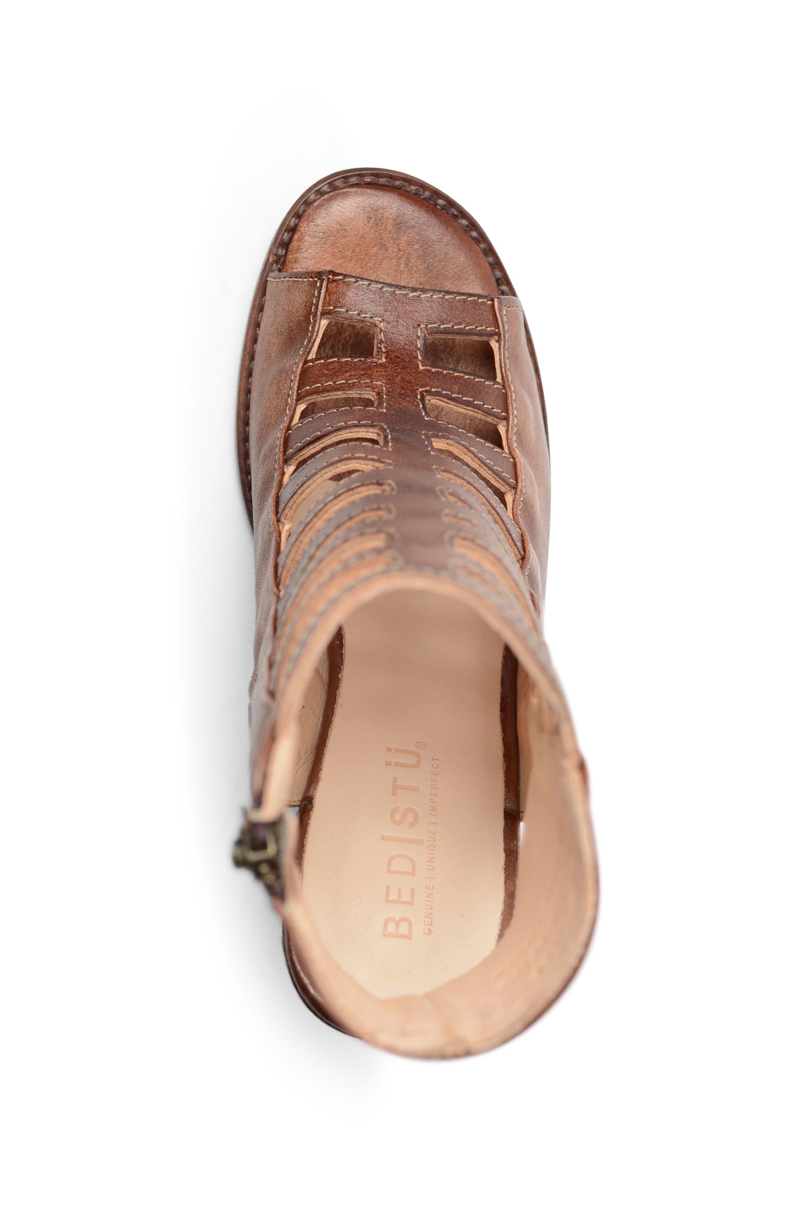 Occam Caged Sandal,                             Alternate thumbnail 3, color,                             Teak Rustic Leather