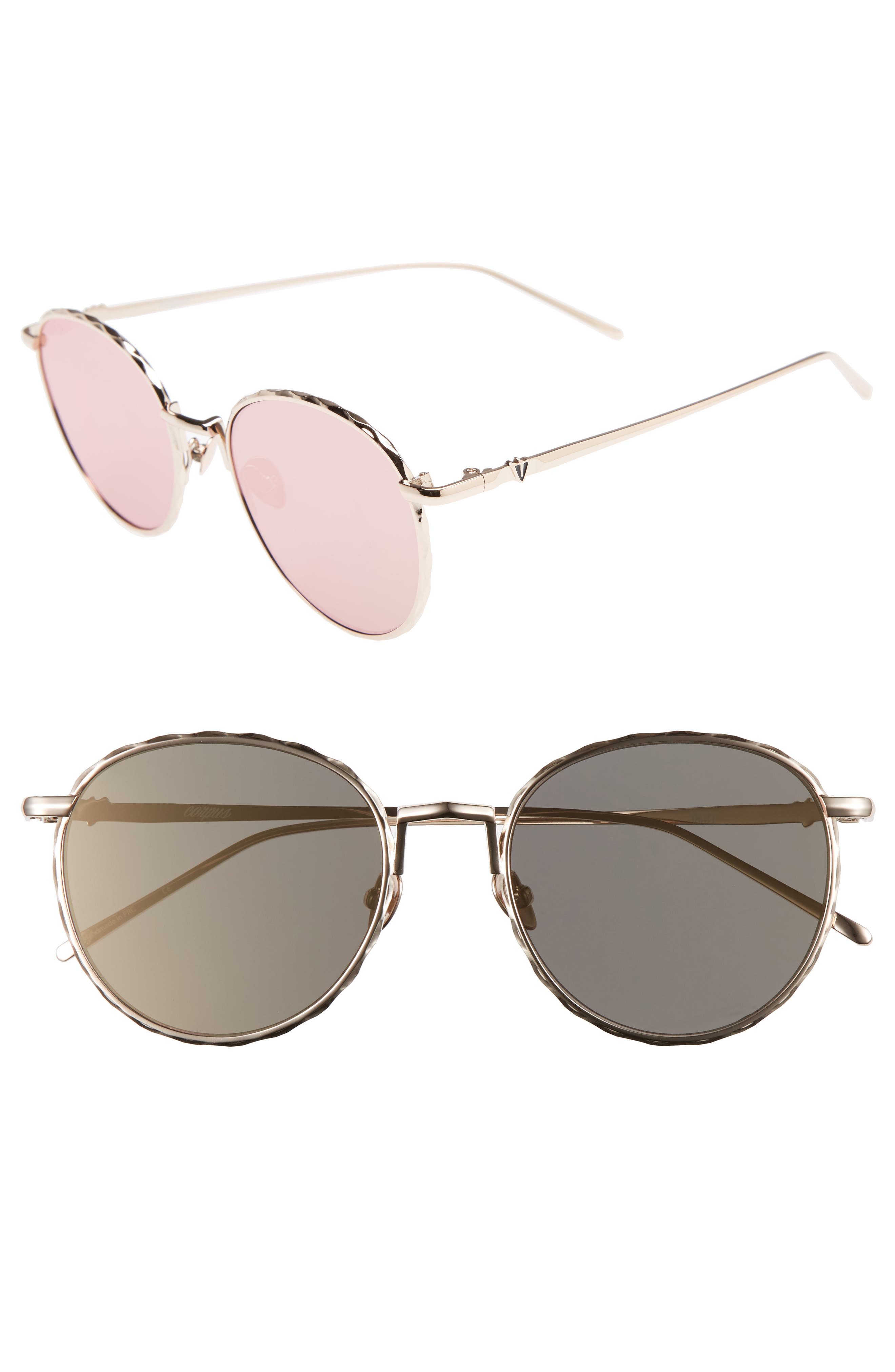 Corpus 53mm Round Sunglasses,                             Main thumbnail 1, color,                             Rose Gold/ Rose Gold Mirror