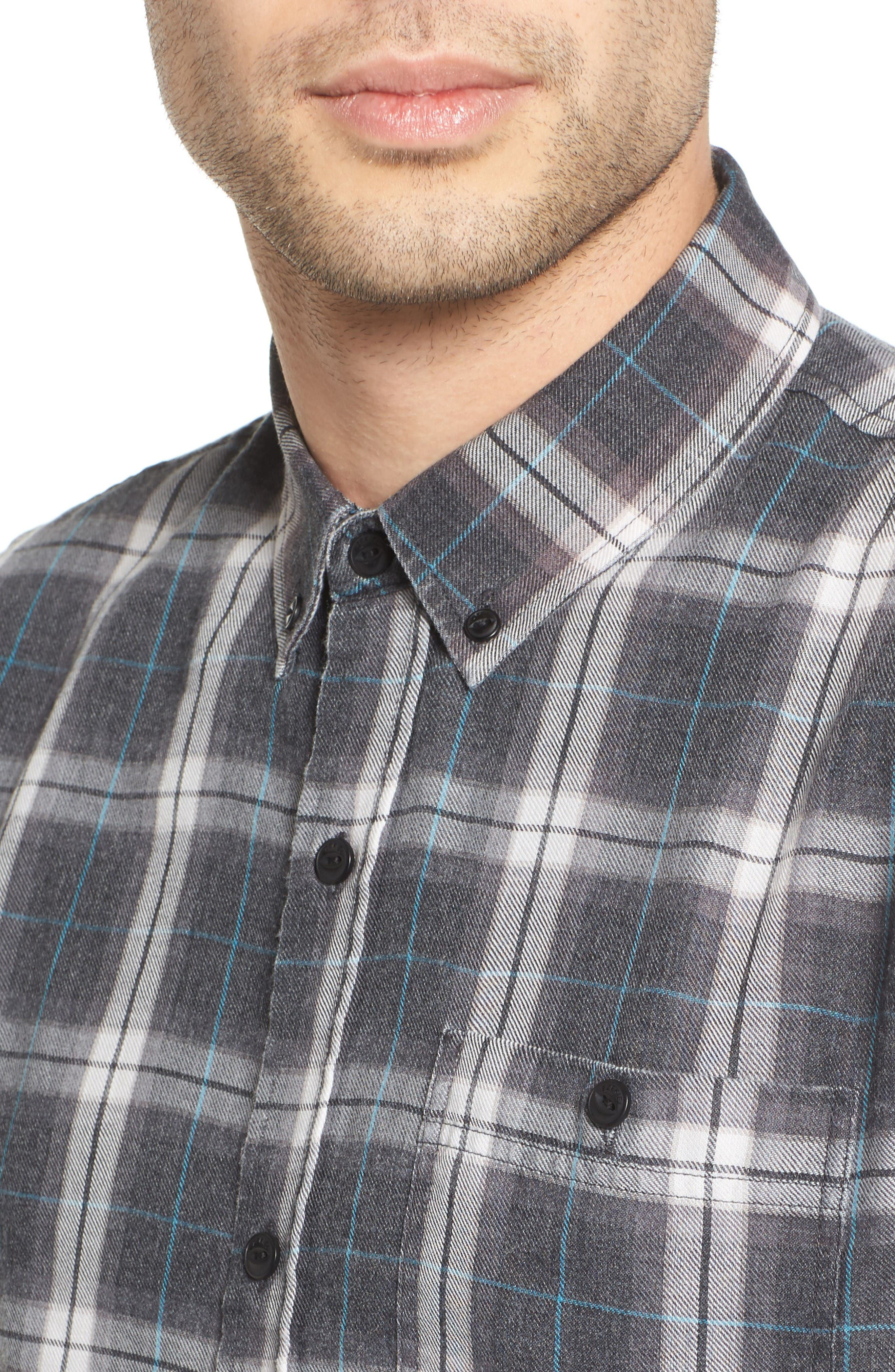 Plaid Shirt,                             Alternate thumbnail 4, color,                             Black