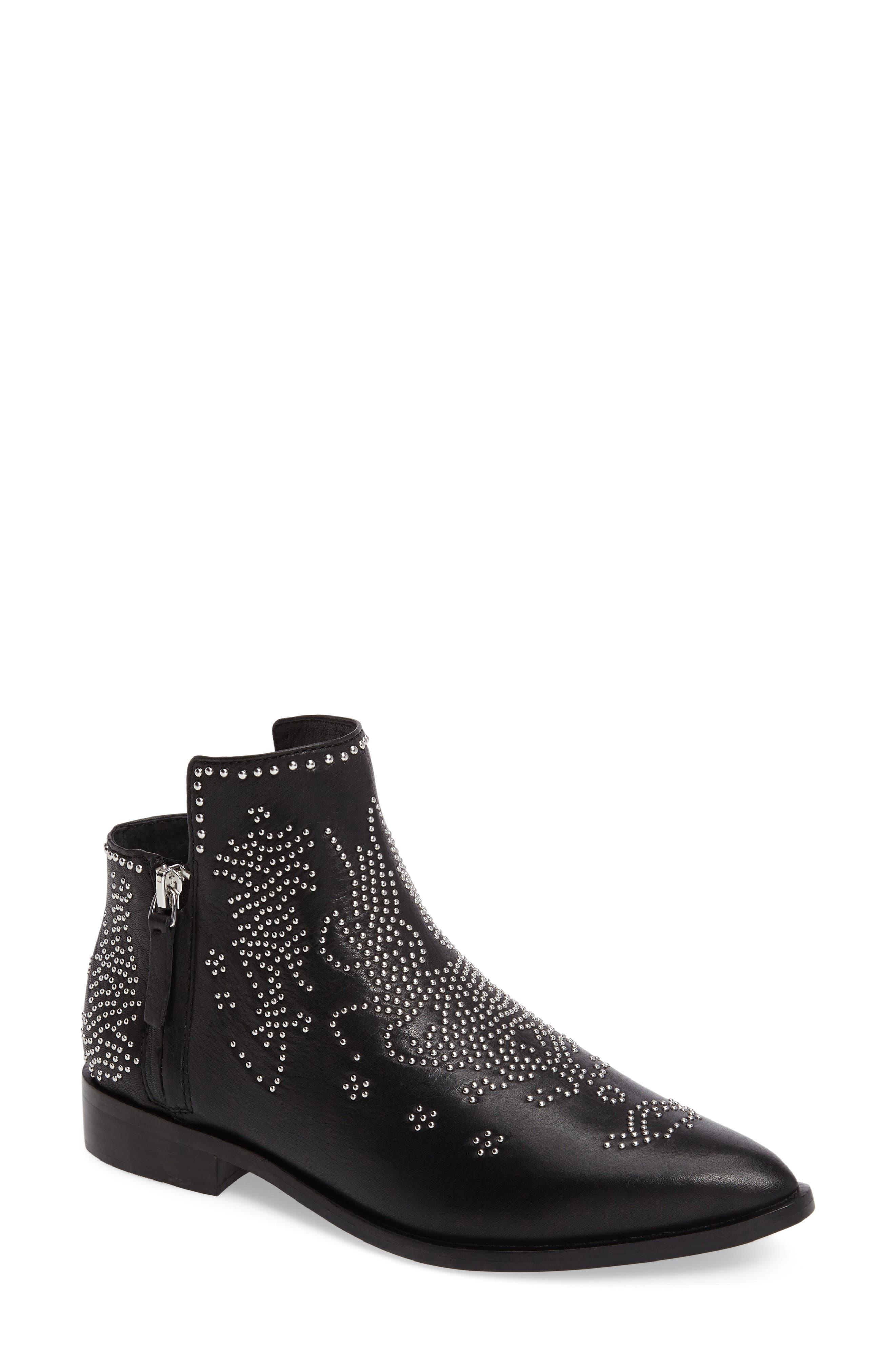 Callback2 Studded Bootie,                             Main thumbnail 1, color,                             Black Leather