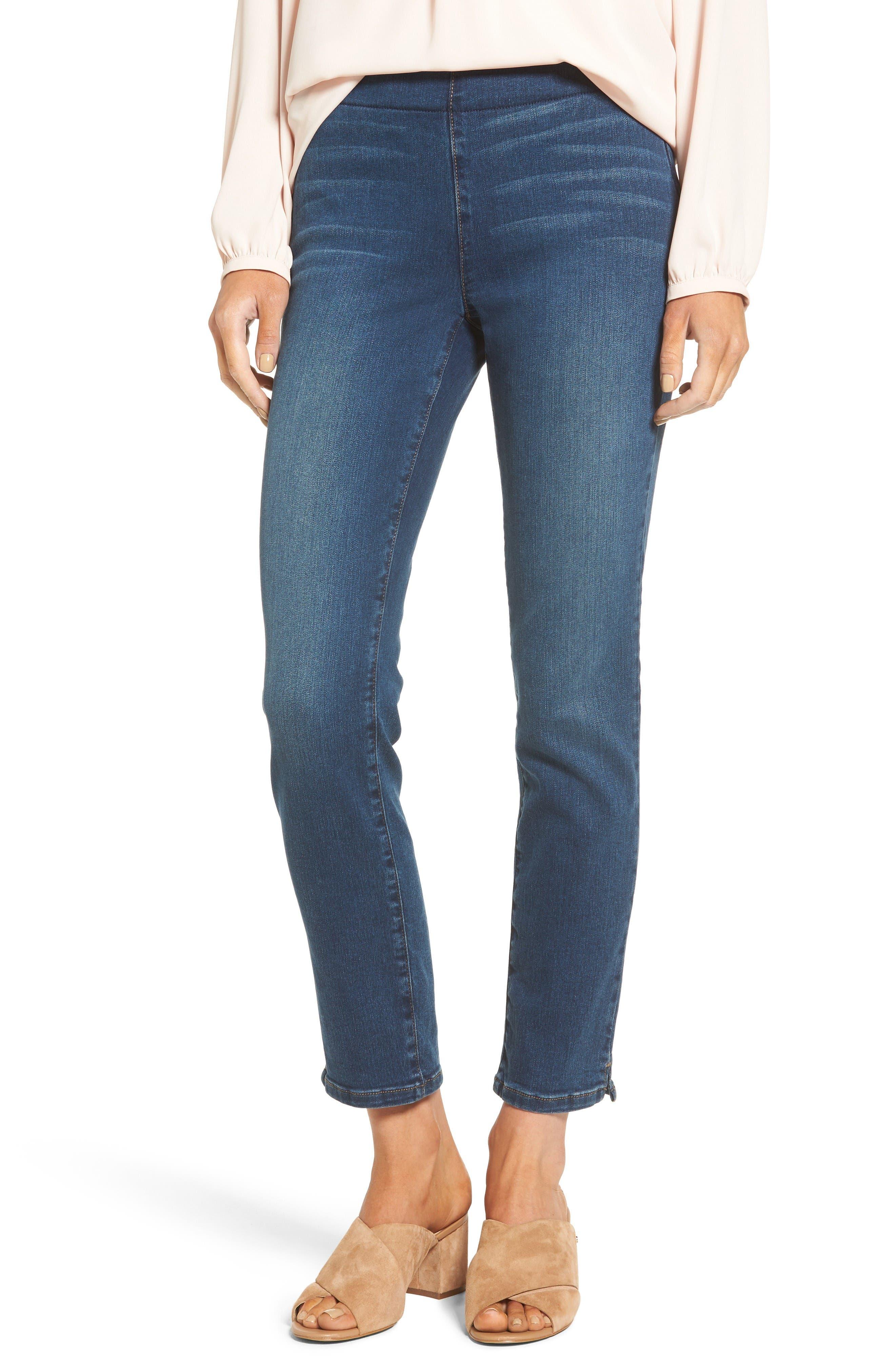 Alternate Image 1 Selected - NYDJ Alina Pull-On Stretch Ankle Skinny Jeans (Sea Breeze) (Regular & Petite)