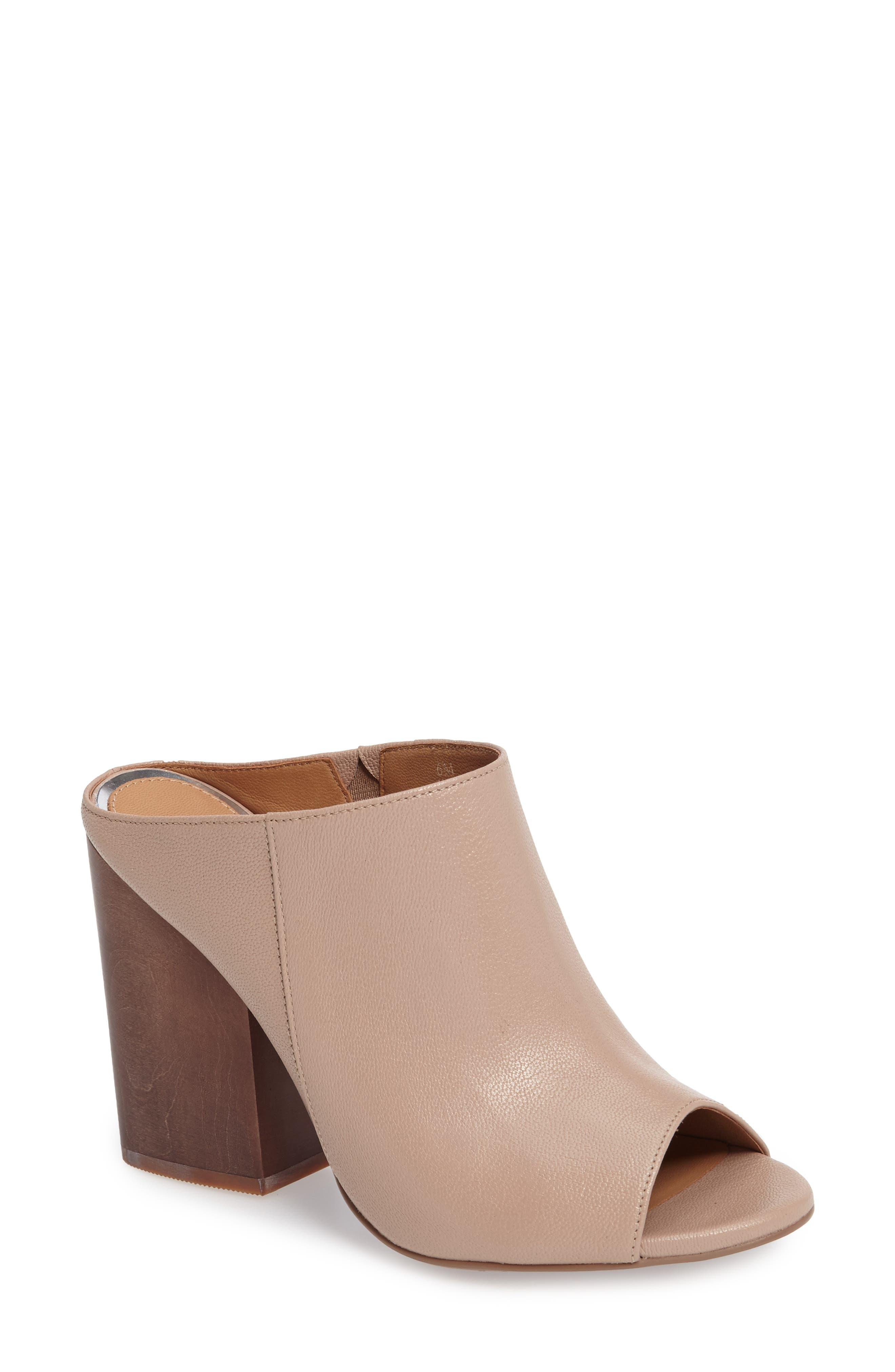 Gabby Block Heel Mule,                             Main thumbnail 1, color,                             Blush Leather