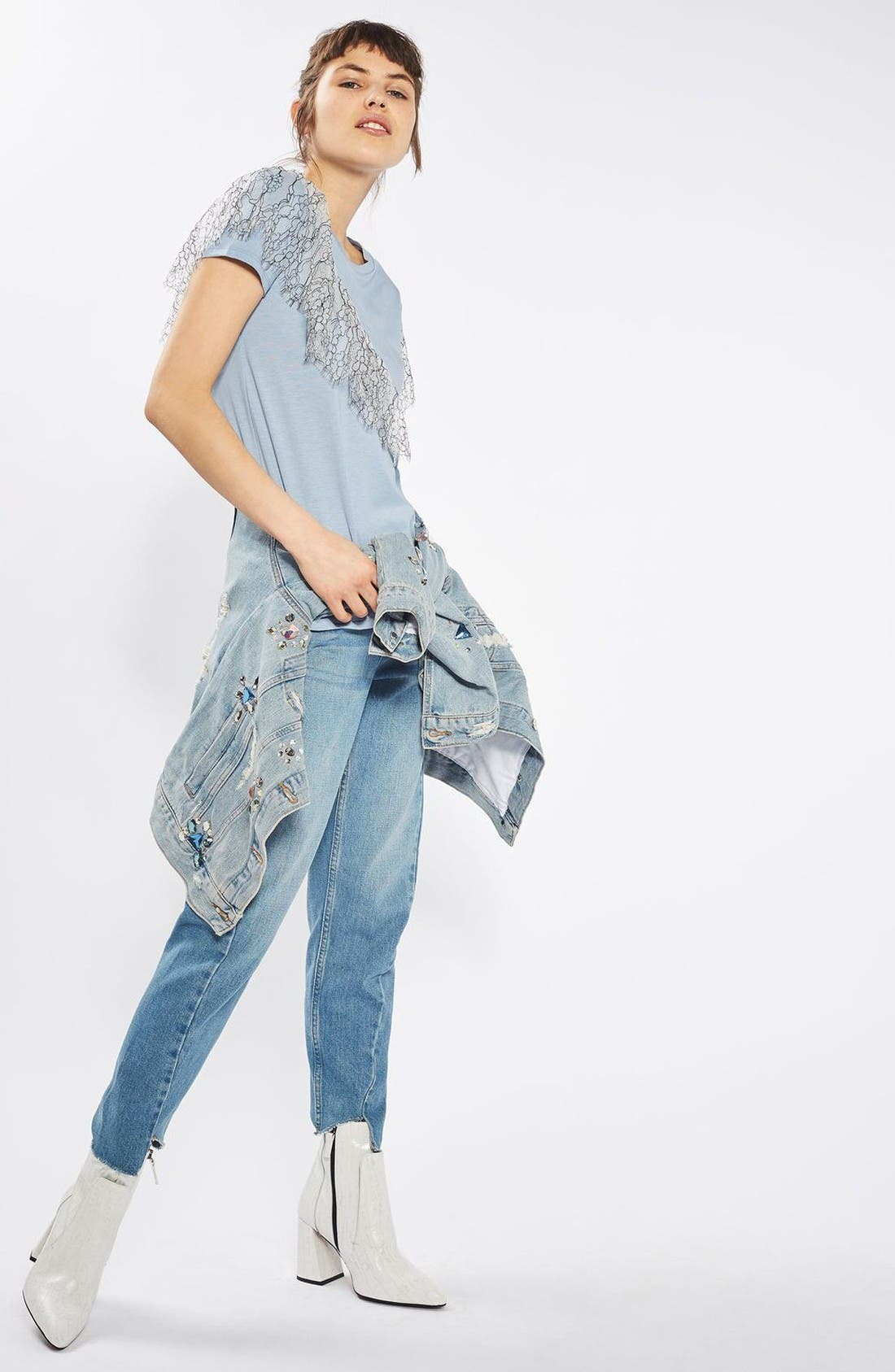 Alternate Image 2  - Topshop Lace Ruffle Tee