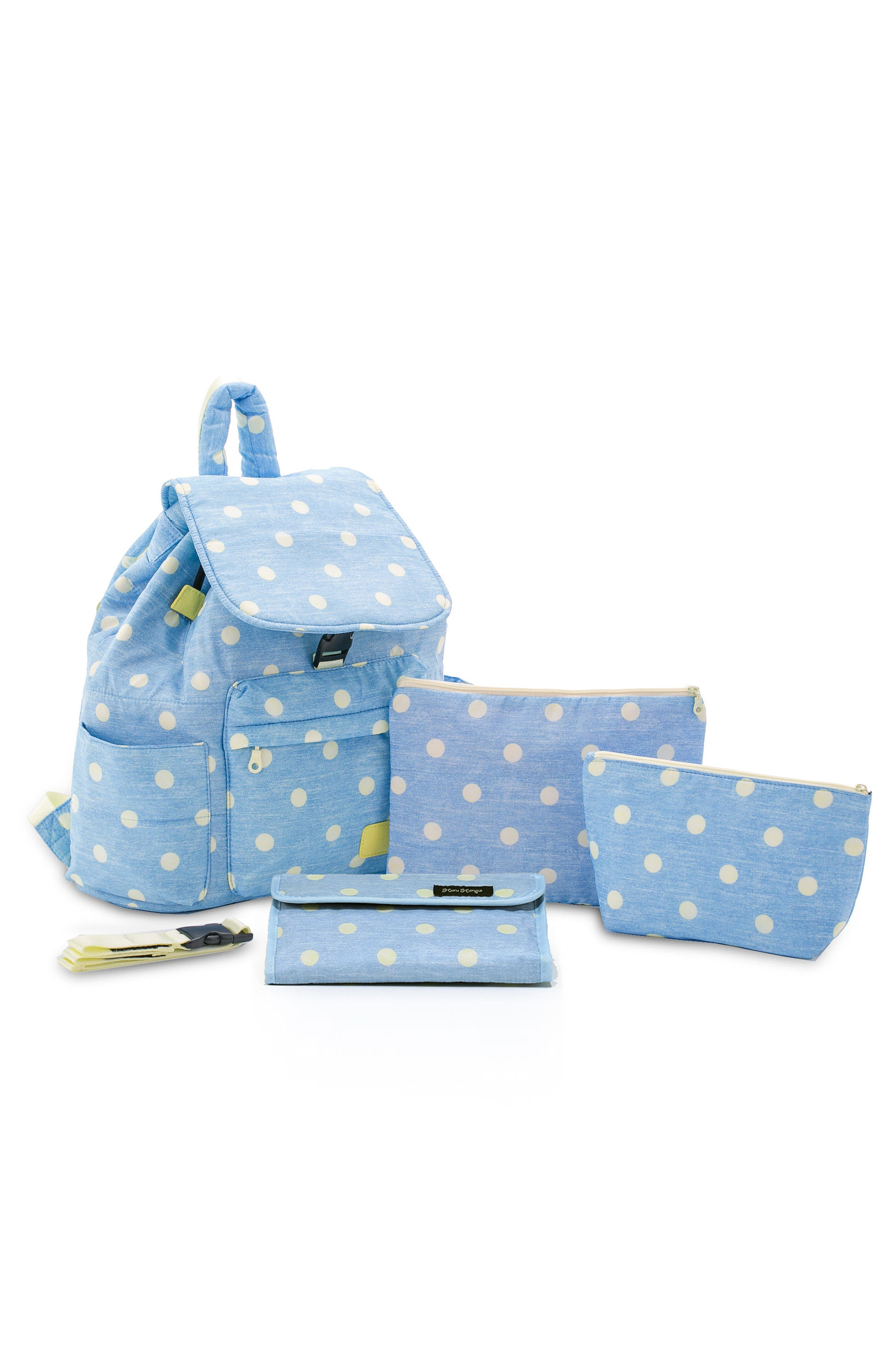 Print Water-Repellent Diaper Backpack,                             Alternate thumbnail 4, color,                             Denim Yellow Dot