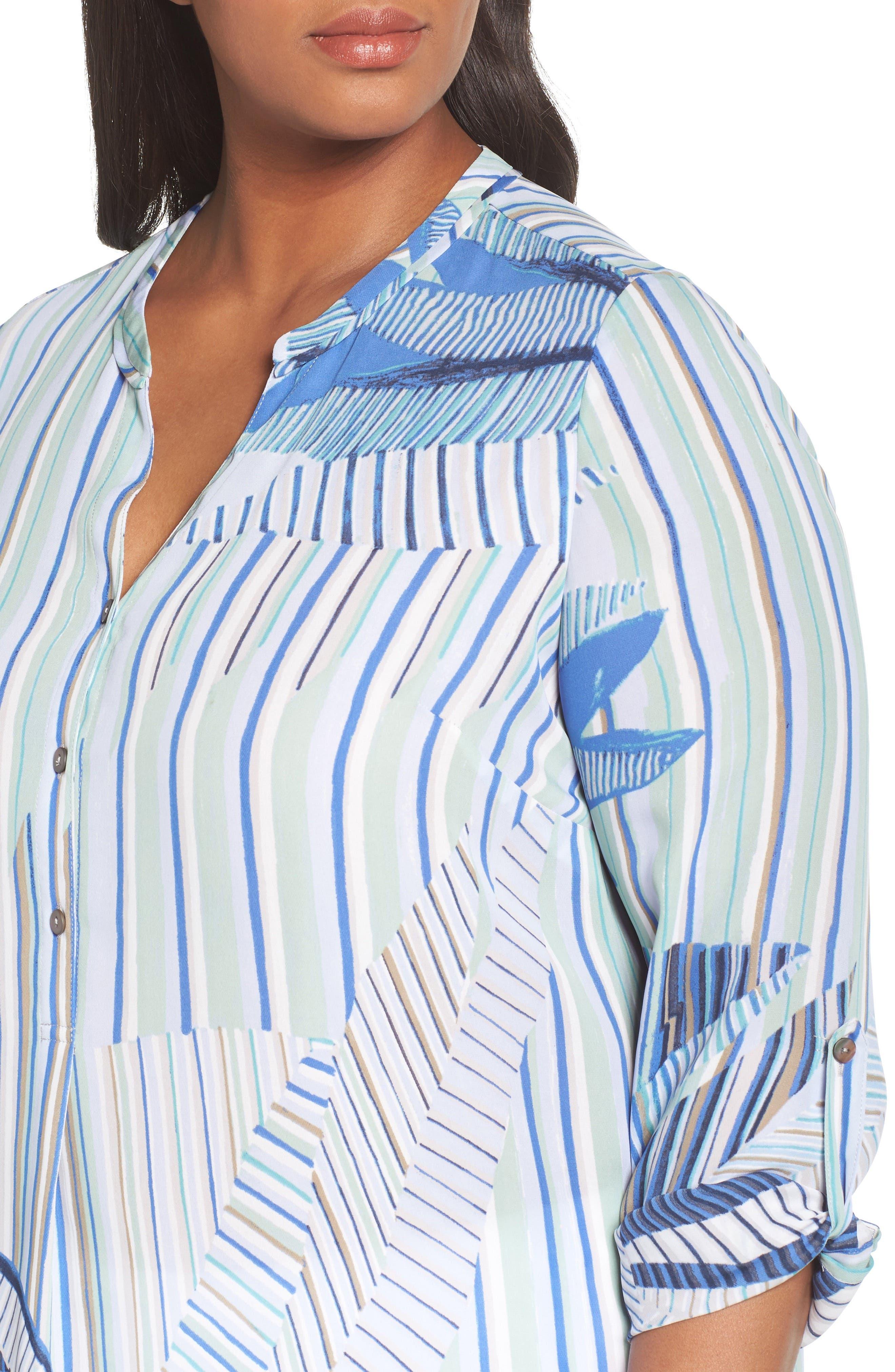 Palm Lines Roll Sleeve Blouse,                             Alternate thumbnail 4, color,                             Blue Multi