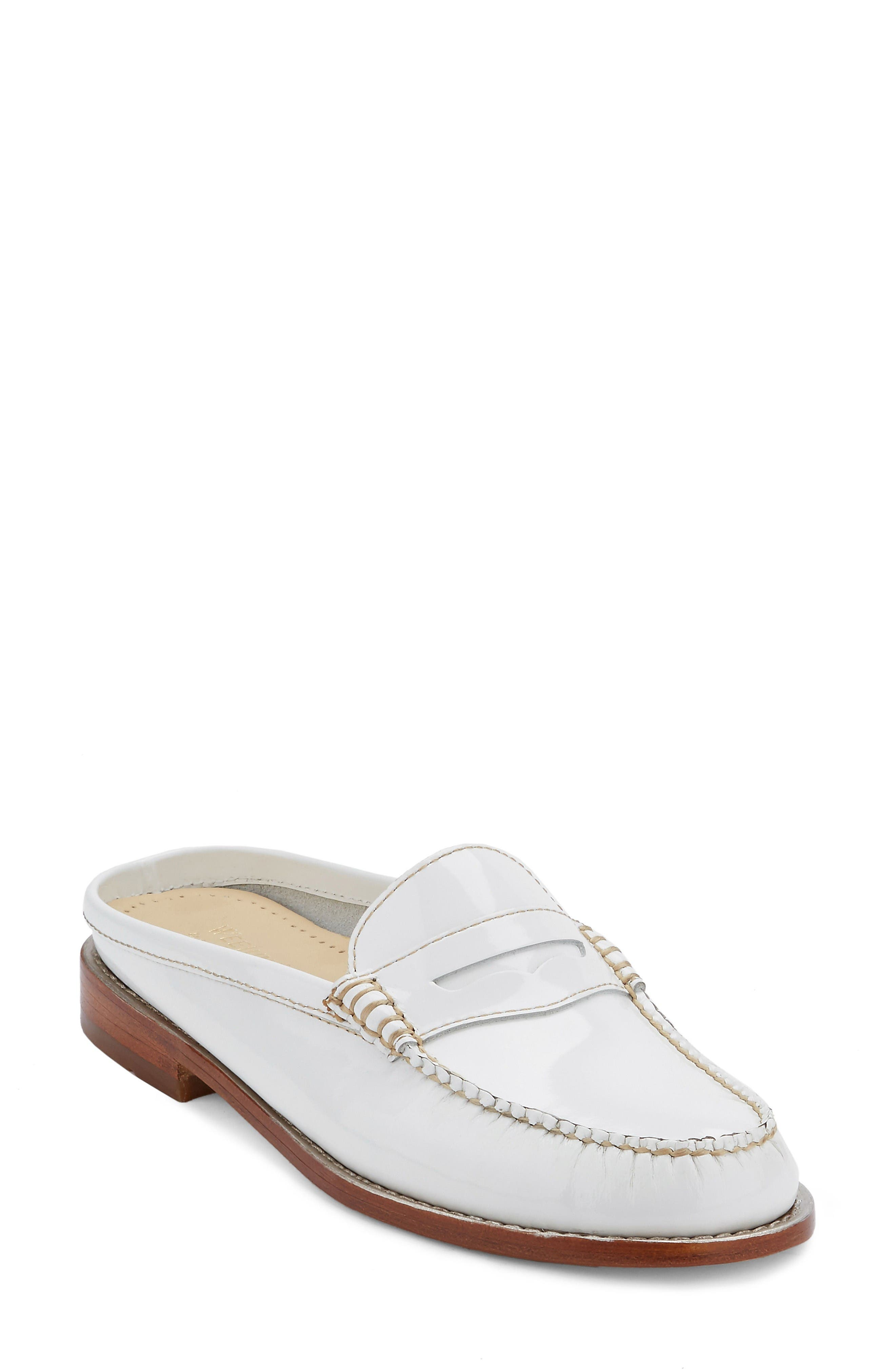 Wynn Loafer Mule,                             Main thumbnail 1, color,                             White Leather