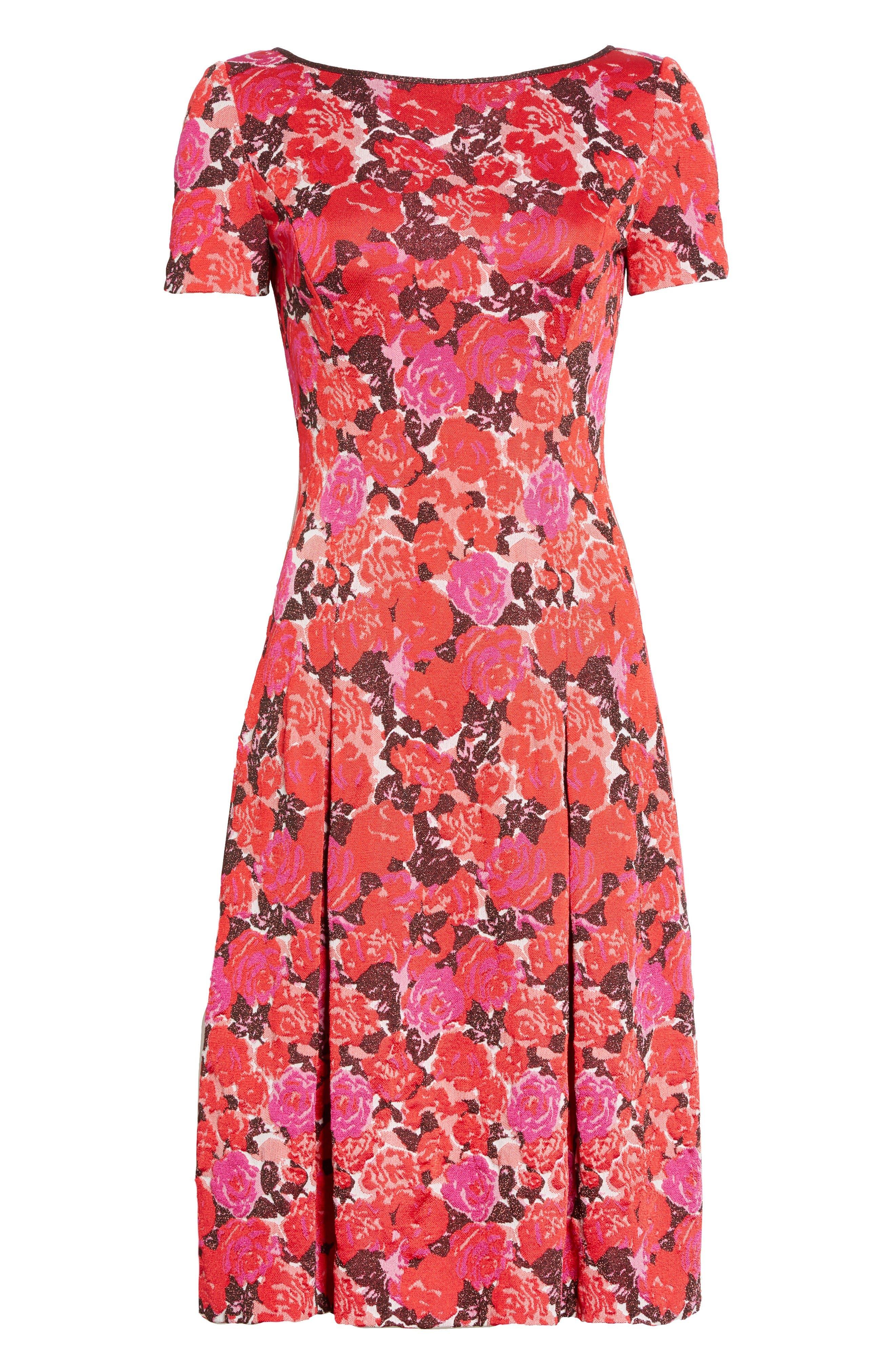 Alternate Image 6  - St. John Collection Indian Rose Blister Jacquard Dress