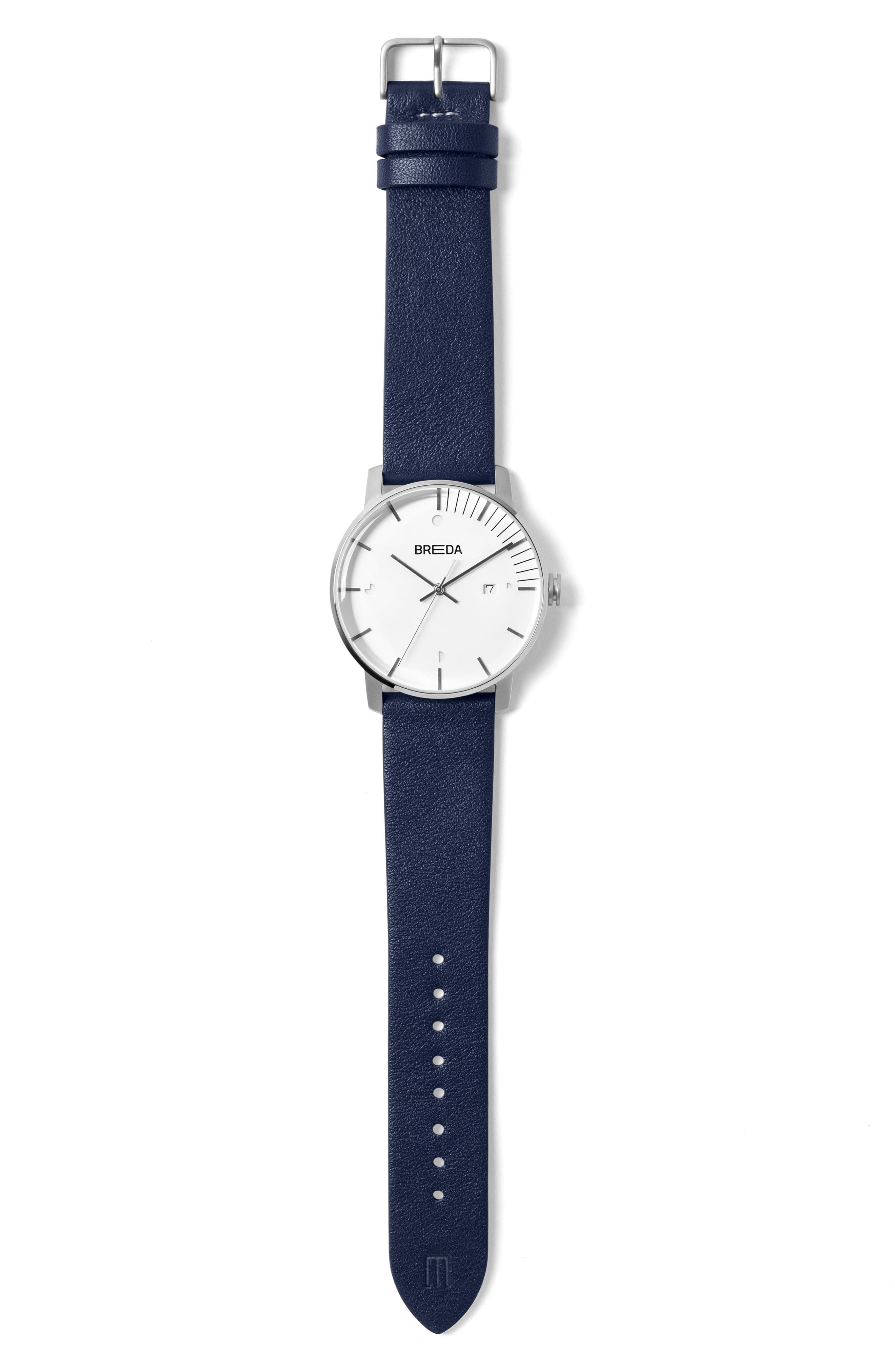 Alternate Image 3  - Breda Phase Leather Strap Watch, 39mm