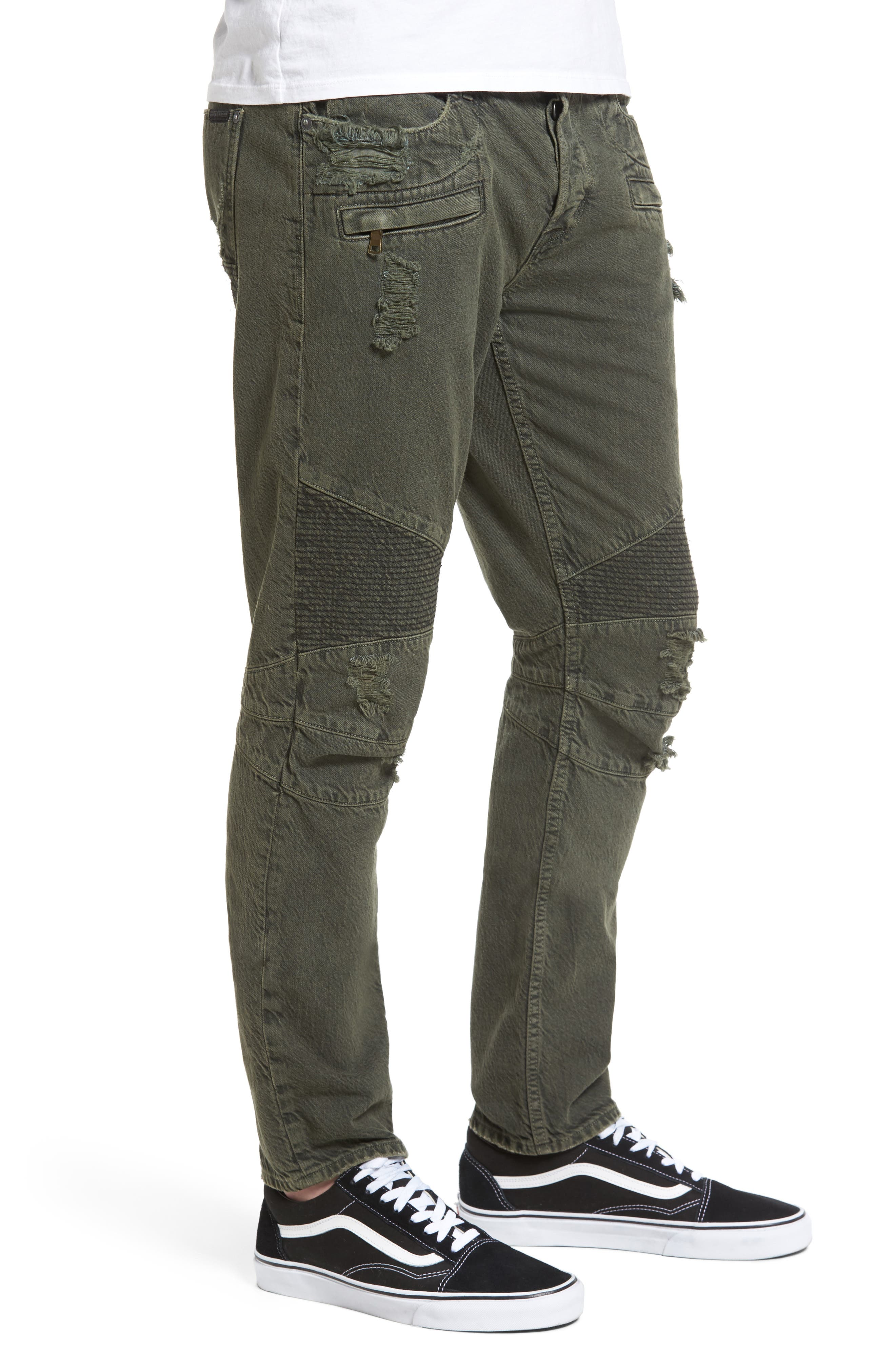 Blinder Biker Skinny Fit Jeans,                             Alternate thumbnail 3, color,                             Fortitude Green