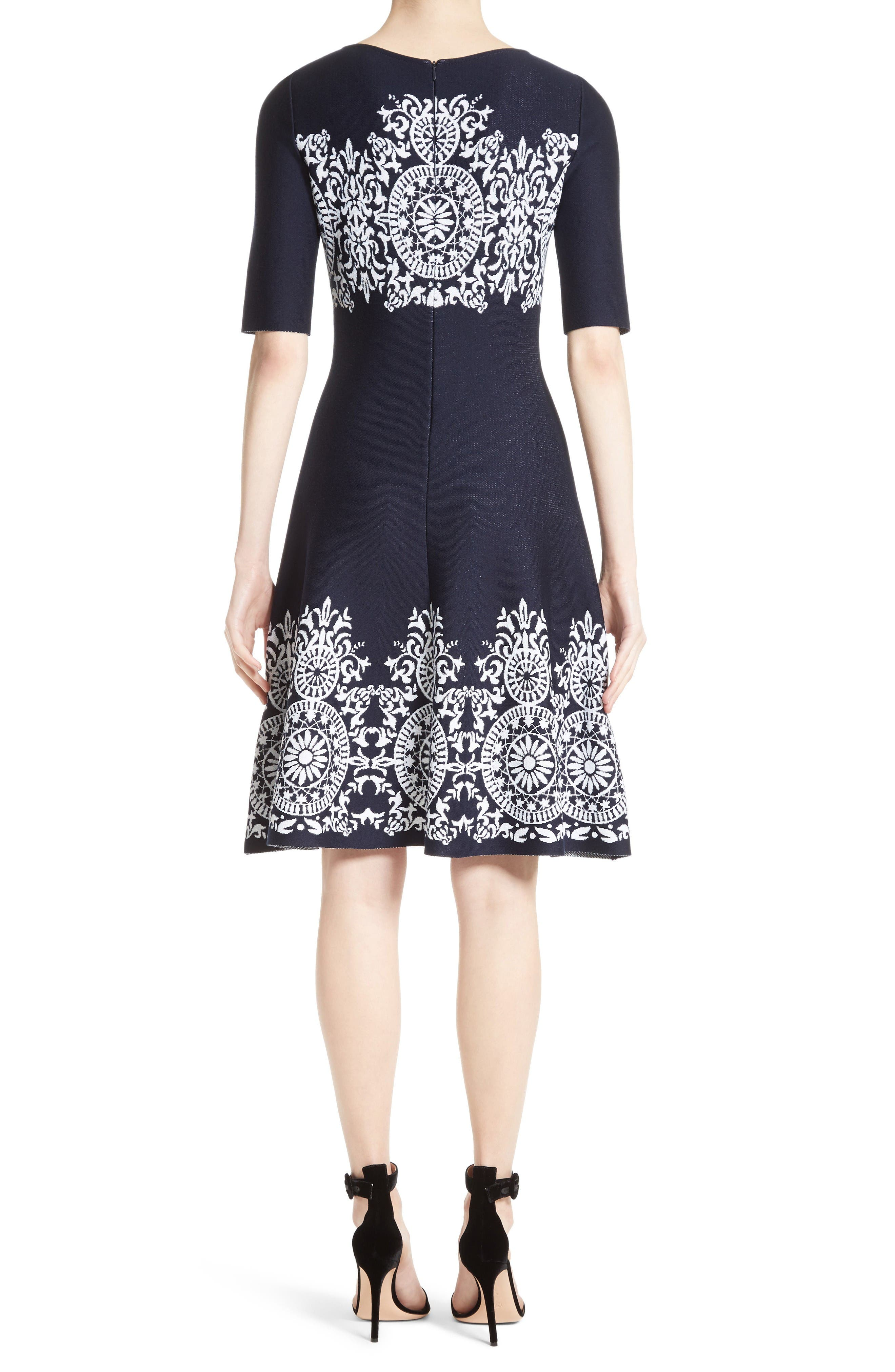 Alternate Image 2  - St. John Collection Nellore Jacquard Knit Fit & Flare Dress