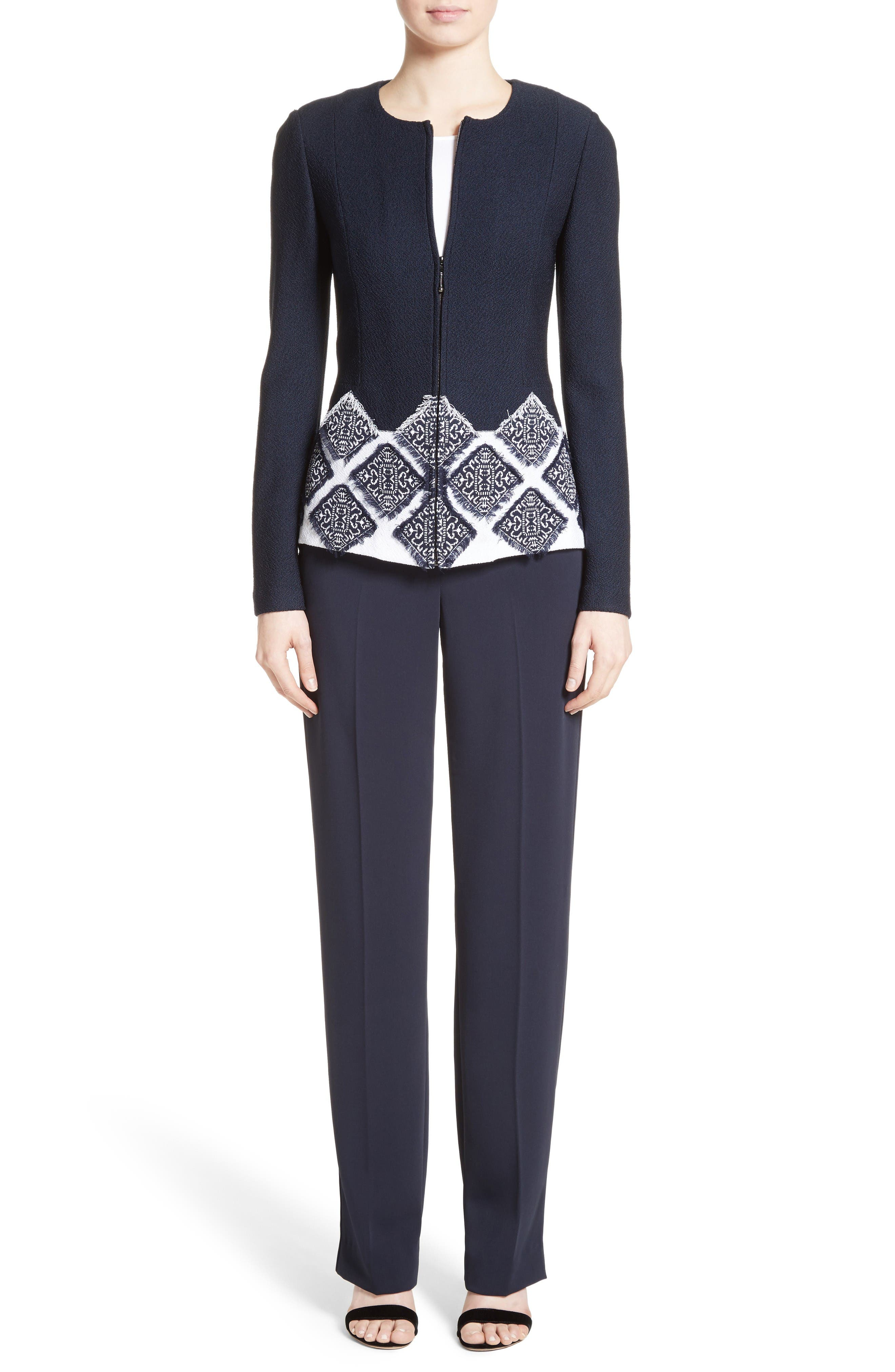 St. John Collection Jacket, Top & Pants Outfit with Accessories