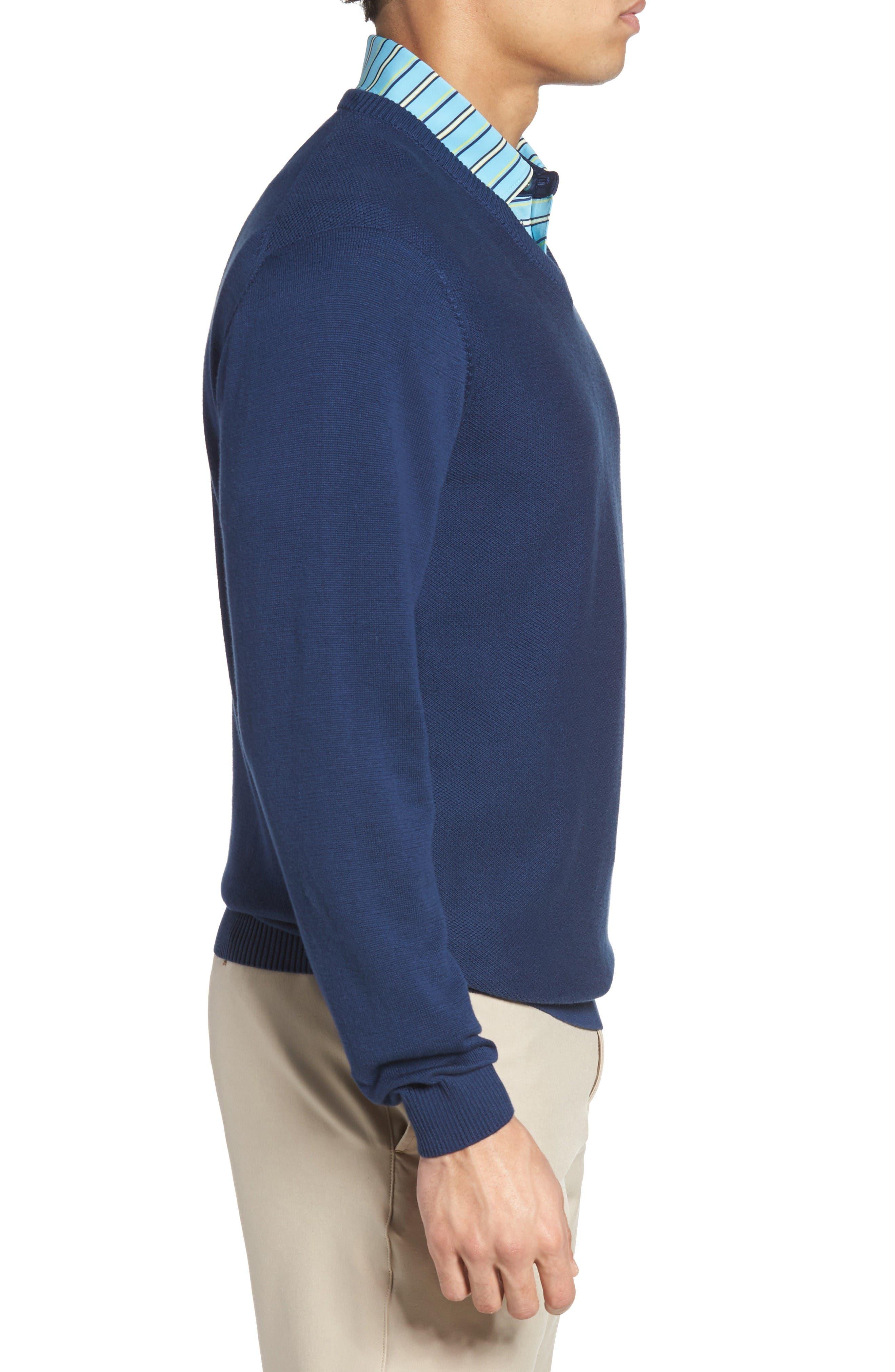 Piqué Jersey V-Neck Sweater,                             Alternate thumbnail 3, color,                             Summer Navy