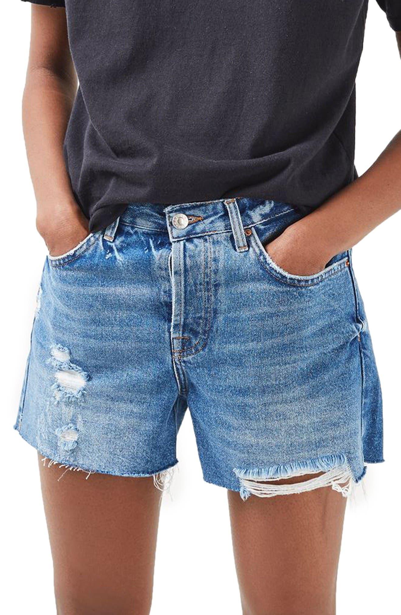 Main Image - Topshop Ashley Ripped Boyfriend Shorts (Regular & Petite)