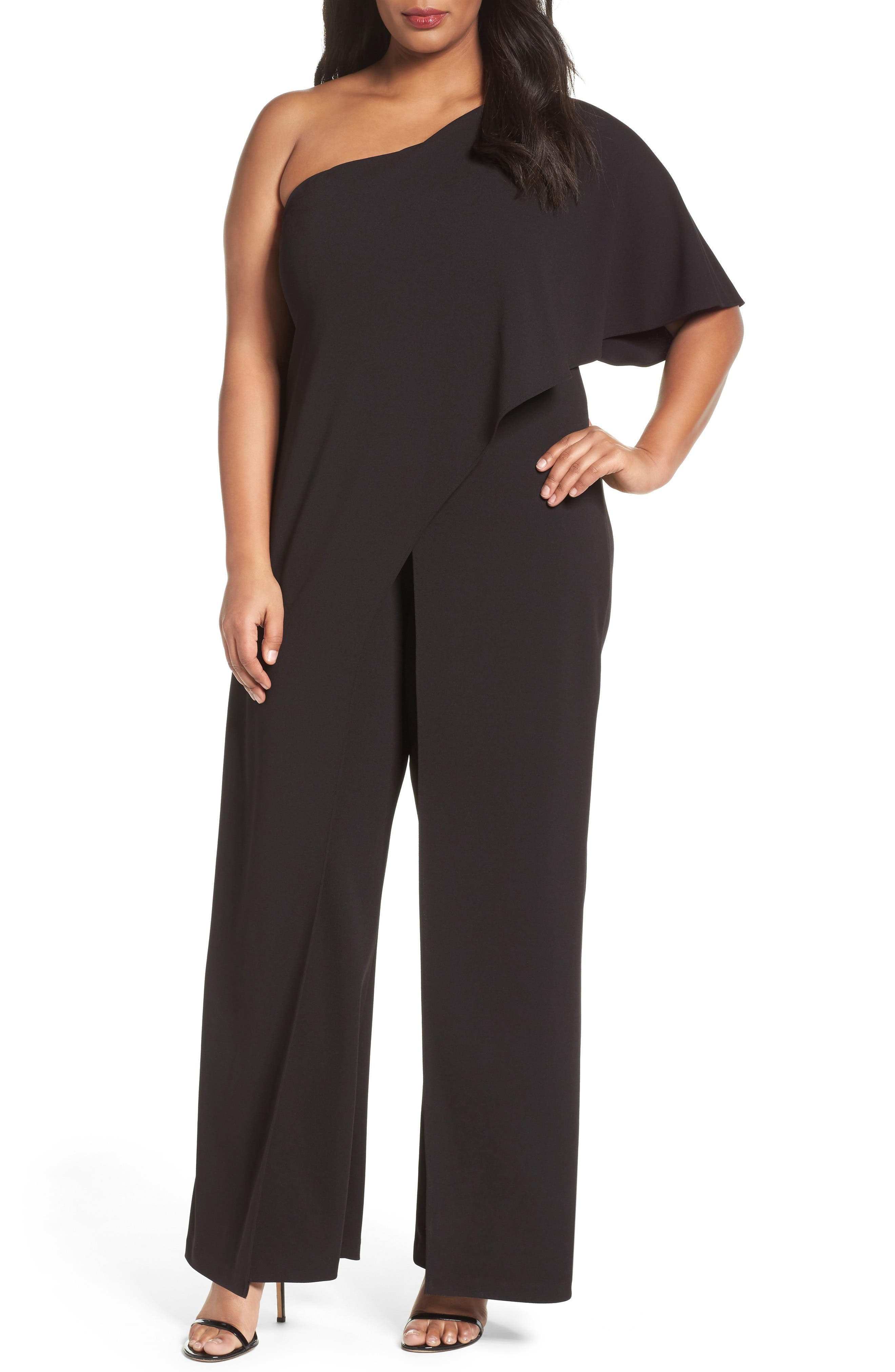 ADRIANNA PAPELL Plus Size Draped One-Shoulder Jumpsuit in Black