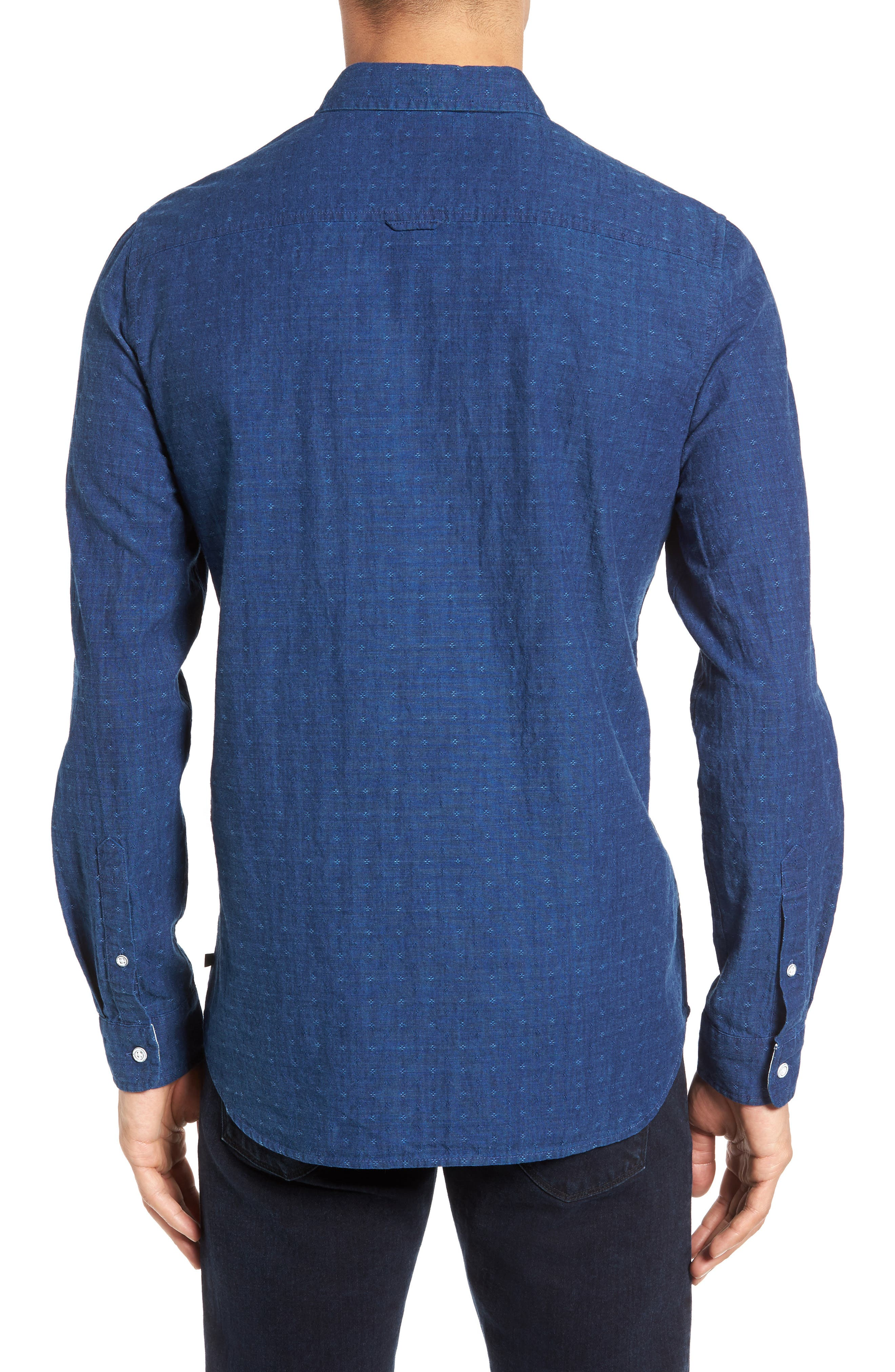 Grady Trim Fit Jacquard Sport Shirt,                             Alternate thumbnail 2, color,                             Washed Indigo