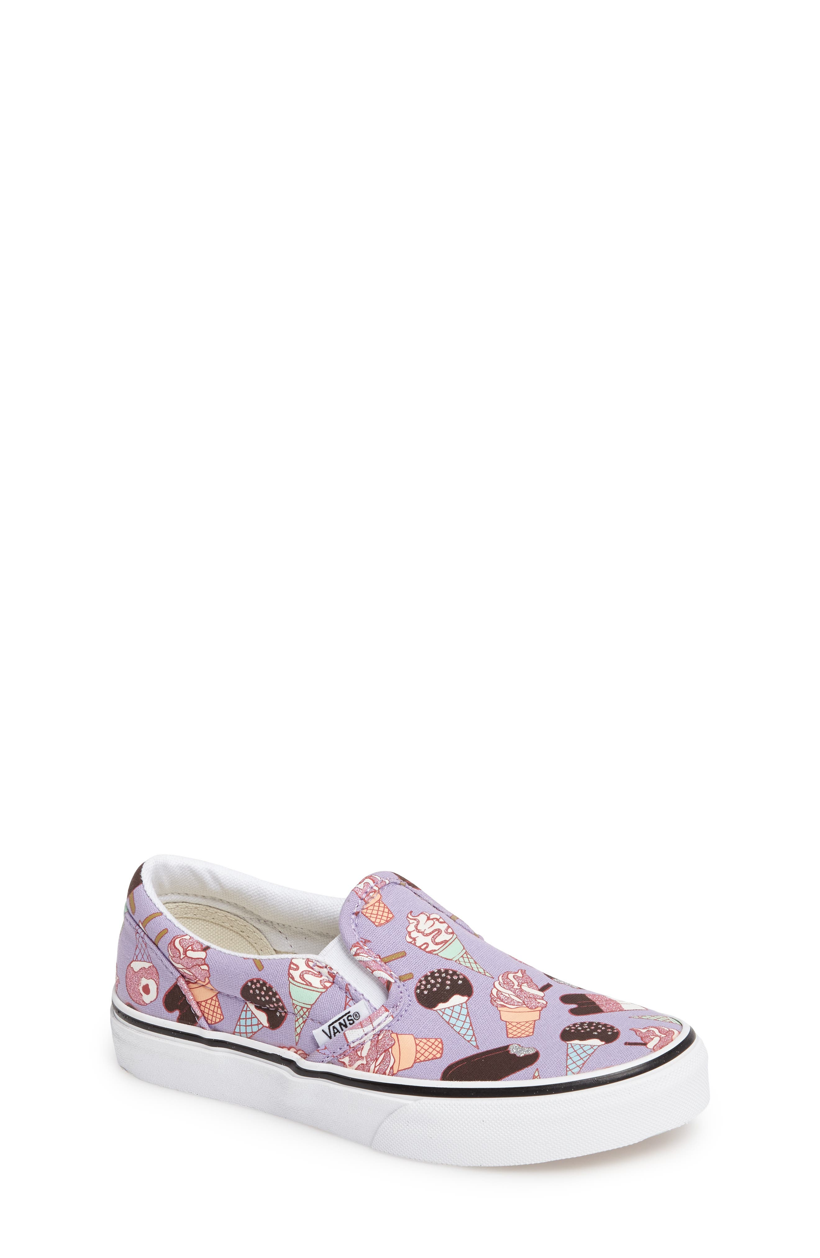 Classic Slip-On,                         Main,                         color, Glitter Lavender/ White