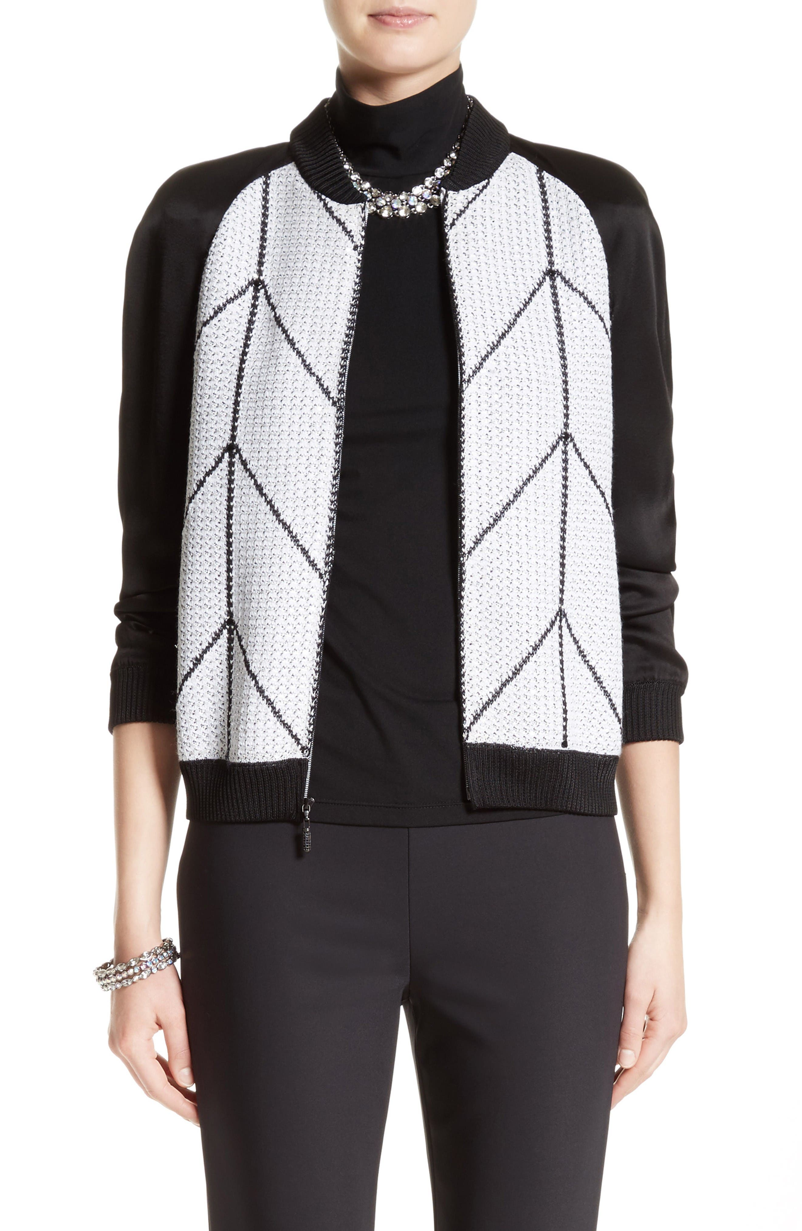 St. John Collection Prisha Geo Knit Sequin Bomber