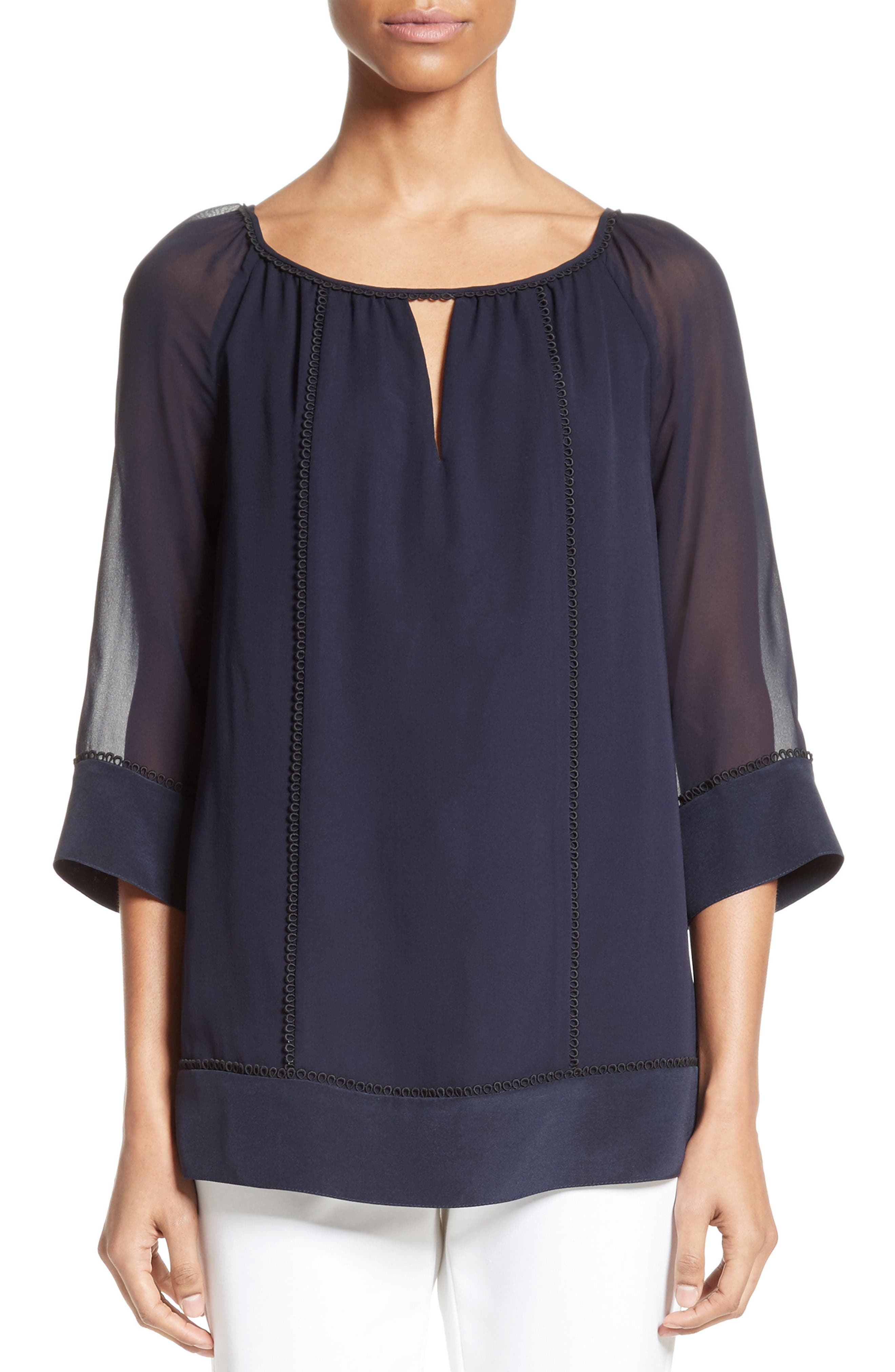 Alternate Image 1 Selected - St. John Collection Silk Georgette Blouse