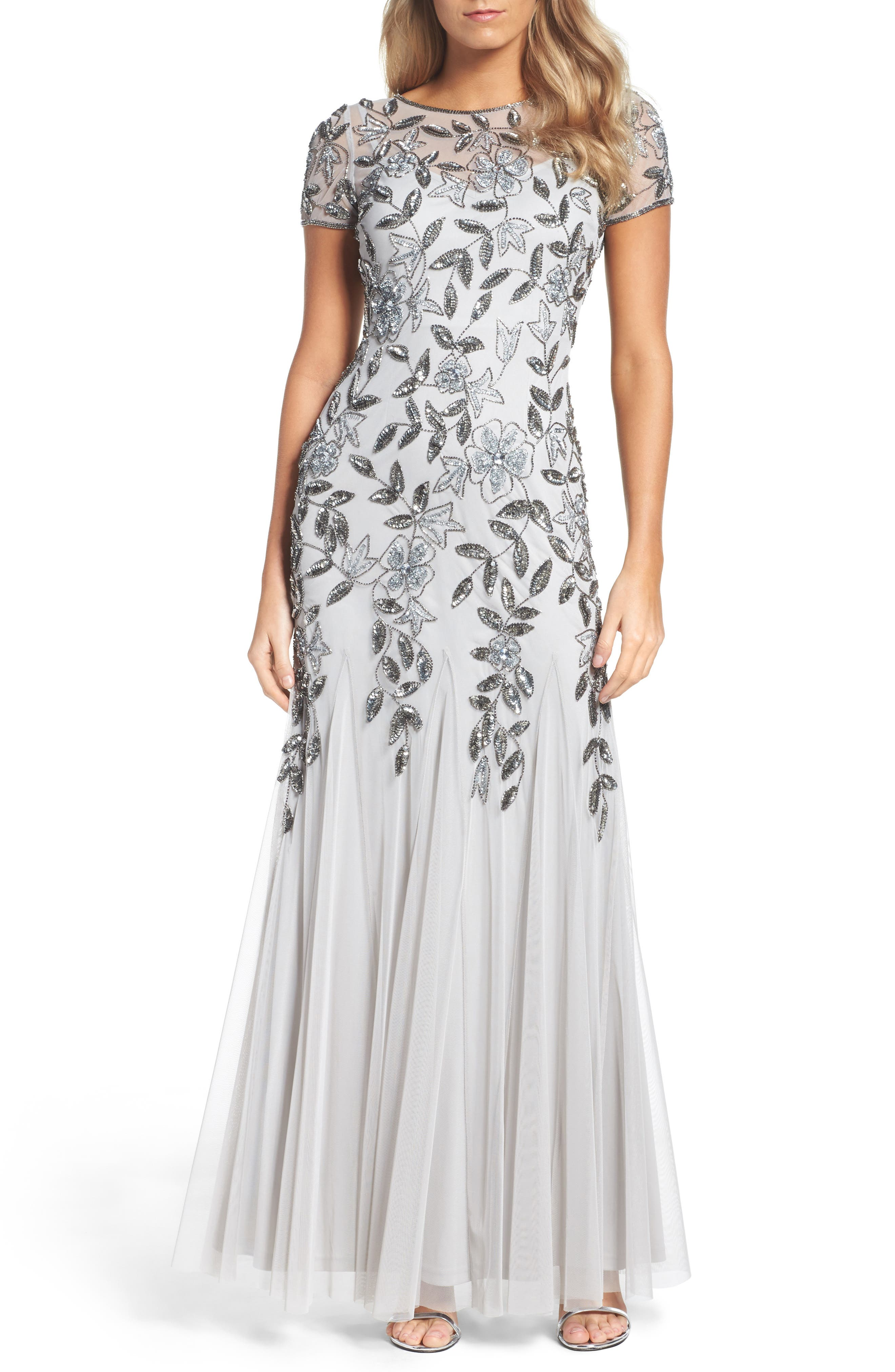 Floral Beaded Trumpet Gown,                             Main thumbnail 1, color,                             Silver
