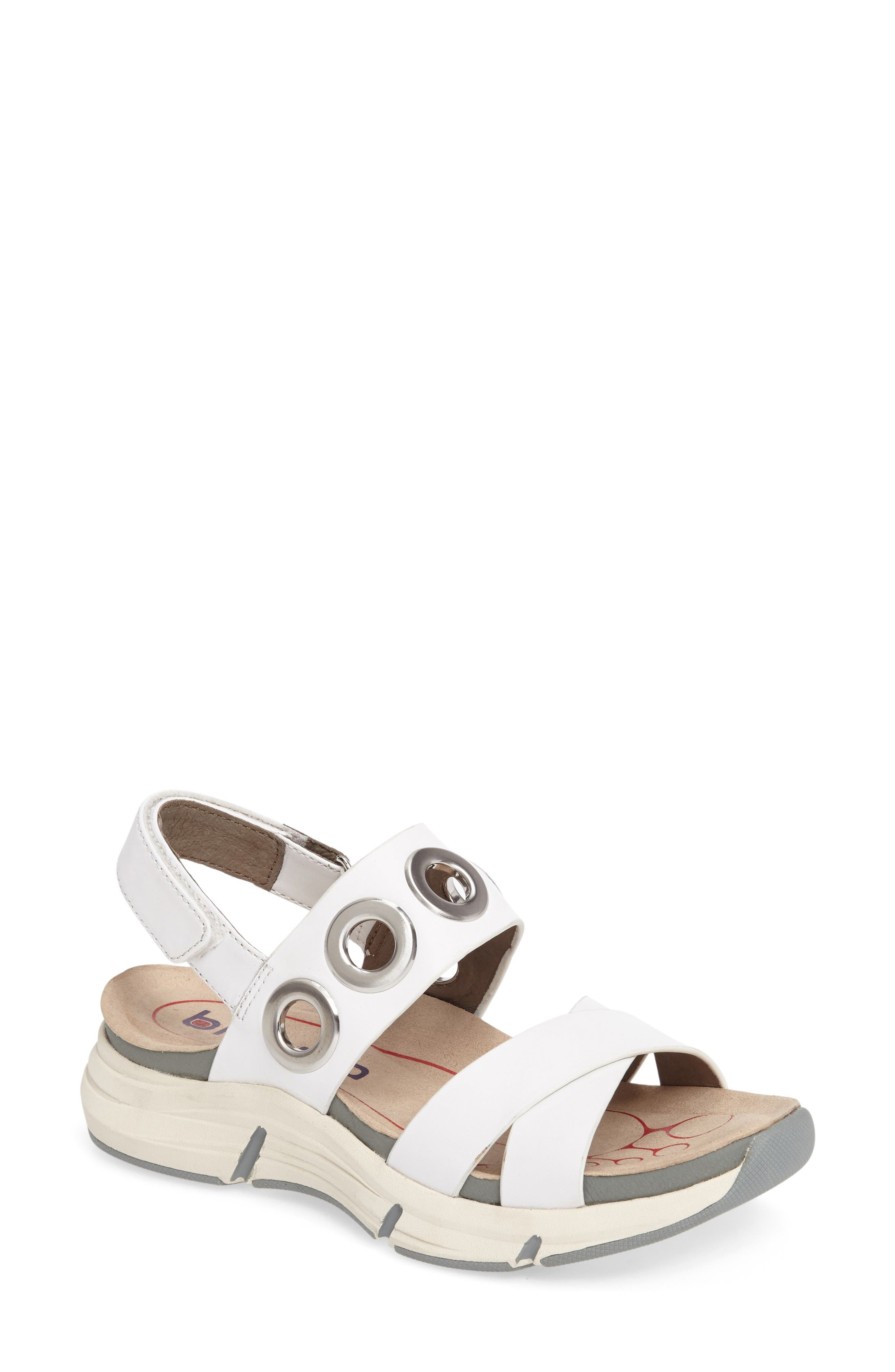 Olney Sandal,                         Main,                         color, White Leather