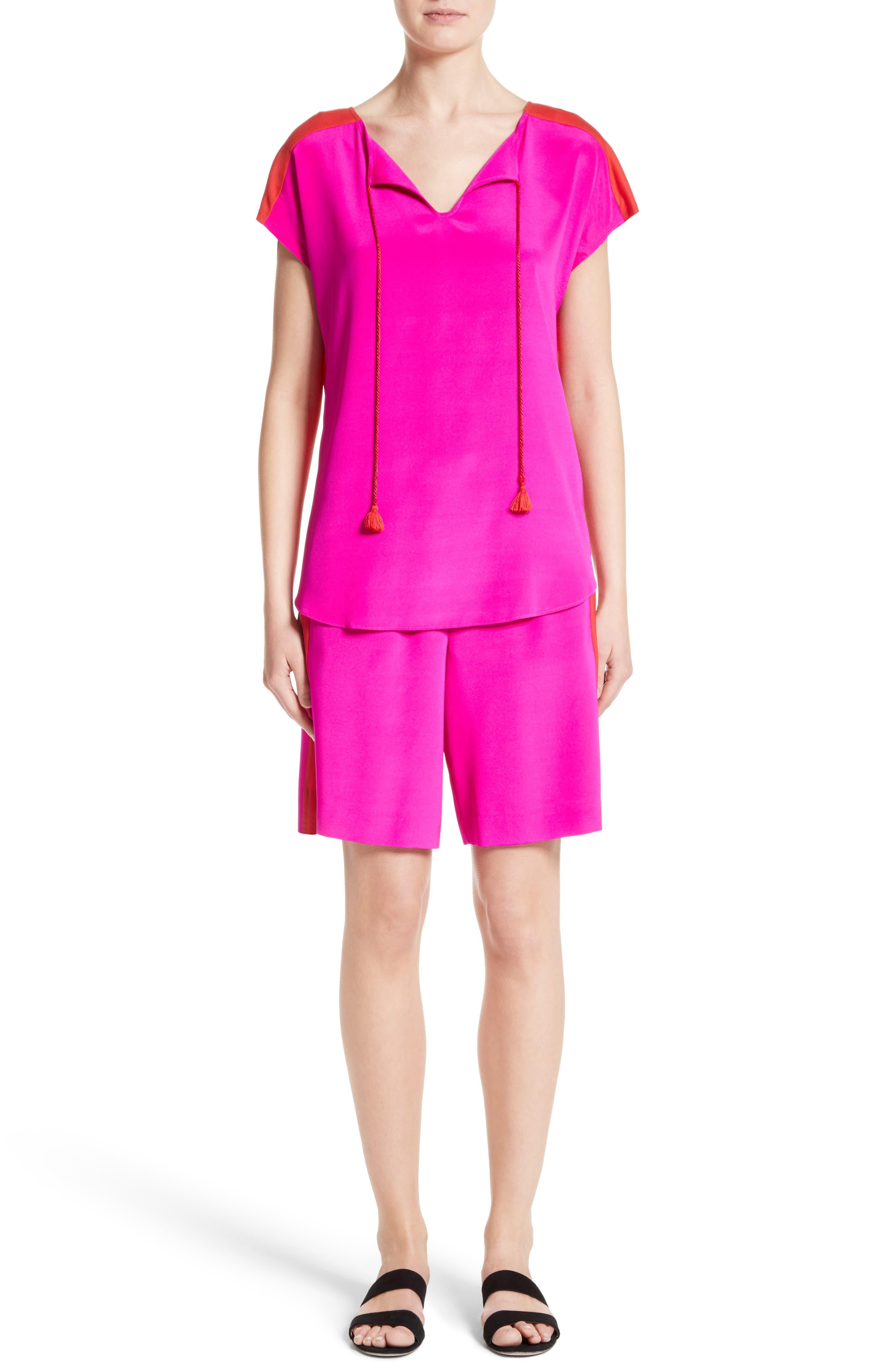 Alternate Image 8  - St. John Collection Stretch Silk & Jersey Tassel Blouse