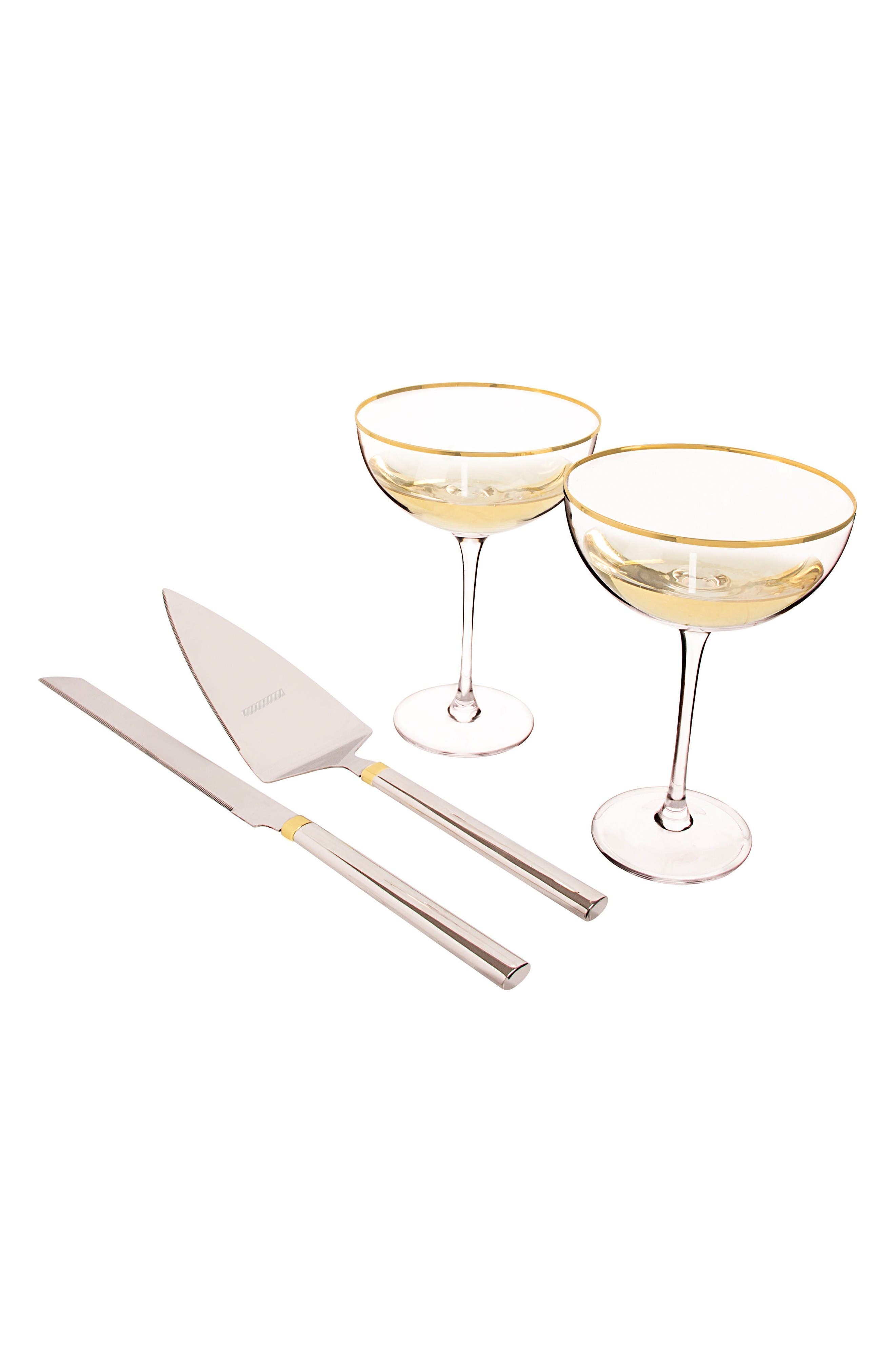 Cathy's Concepts Monogram Coupe Flutes & Cake Server Set