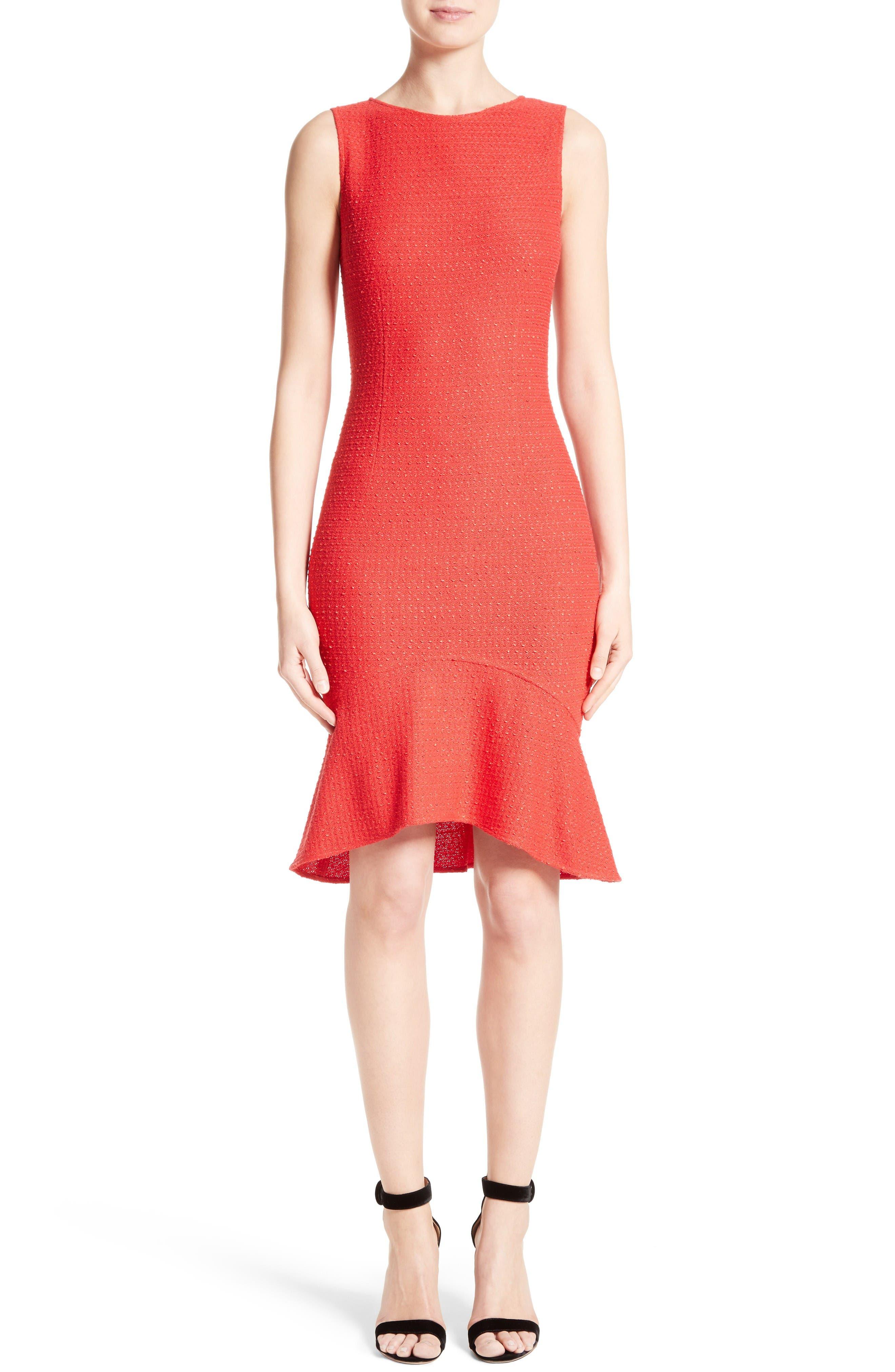 Ribbon Knit Flounce Dress,                         Main,                         color, Tikka Red