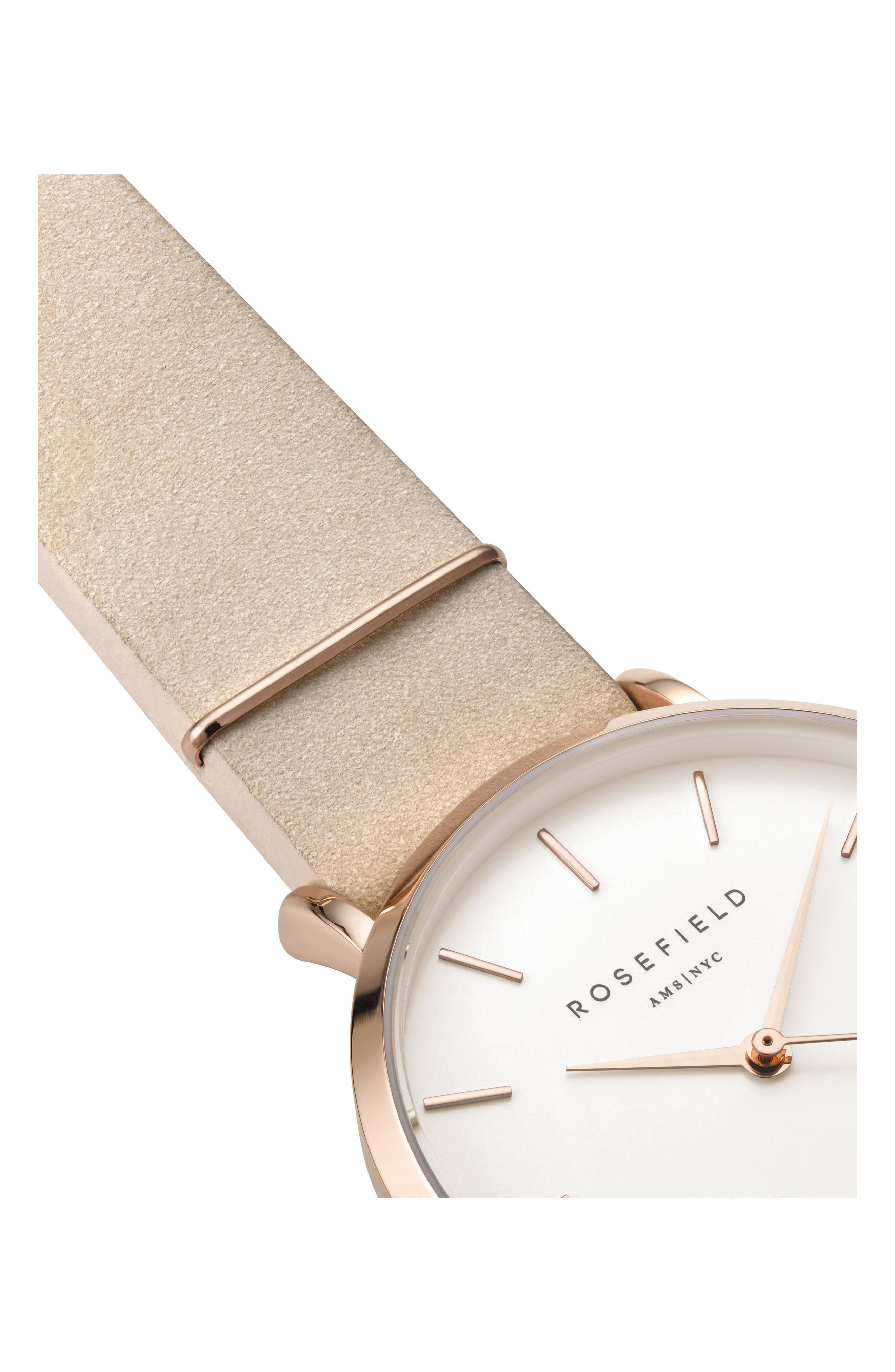 West Village Leather Strap Watch, 33mm,                             Alternate thumbnail 3, color,                             Soft Pink/ White/ Rose Gold