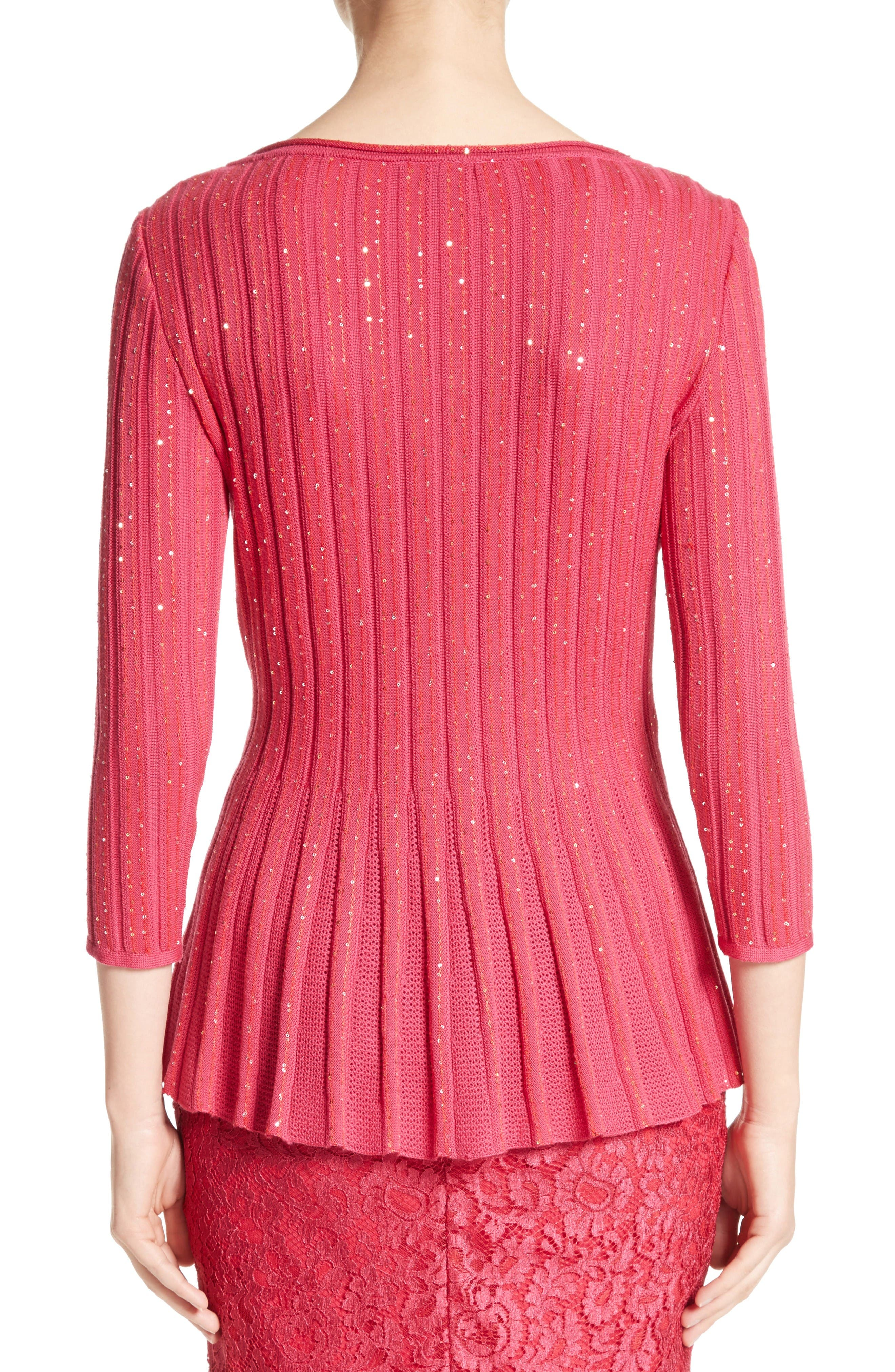 Chriag Sequin Knit Peplum Top,                             Alternate thumbnail 2, color,                             Indian Rose