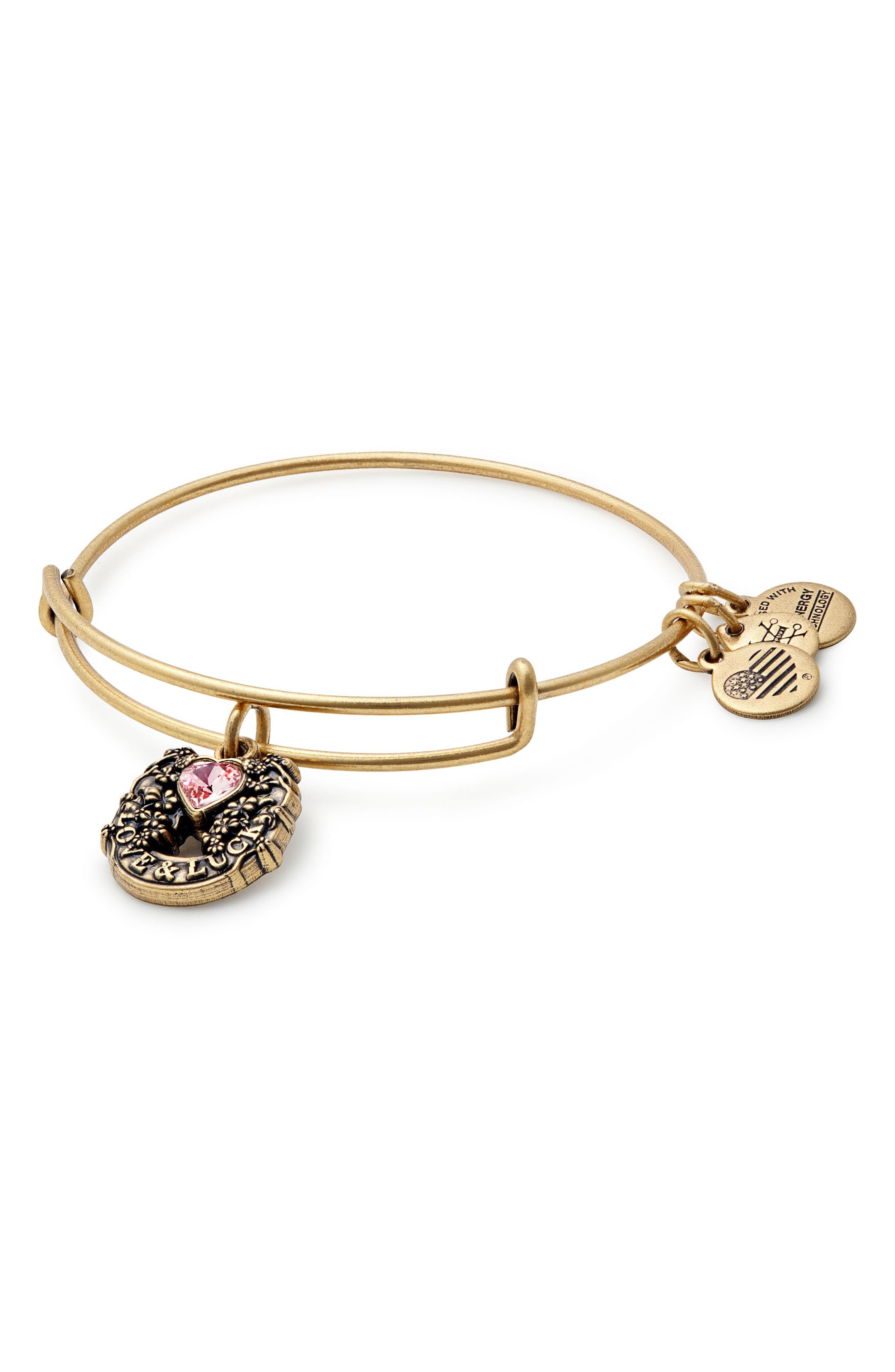 Fortune's Favor Adjustable Wire Bangle,                         Main,                         color, Russian Gold