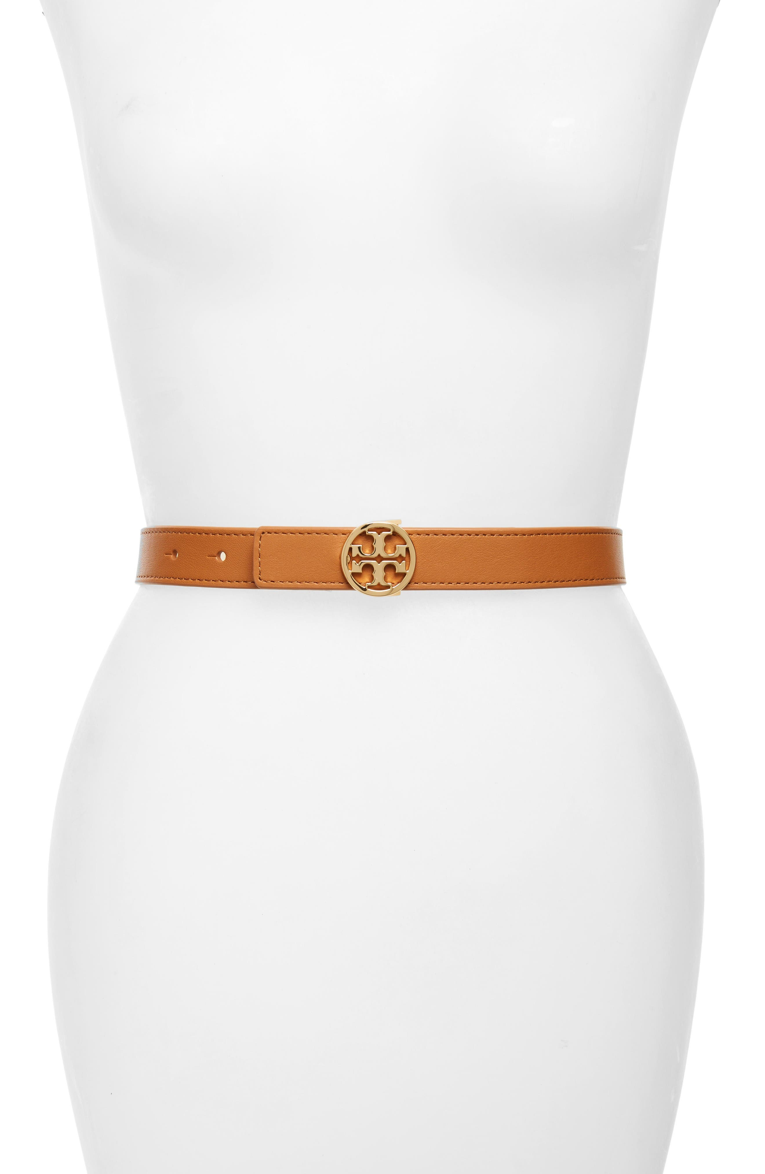 Reversible Leather Belt,                         Main,                         color, Camello/ Gold
