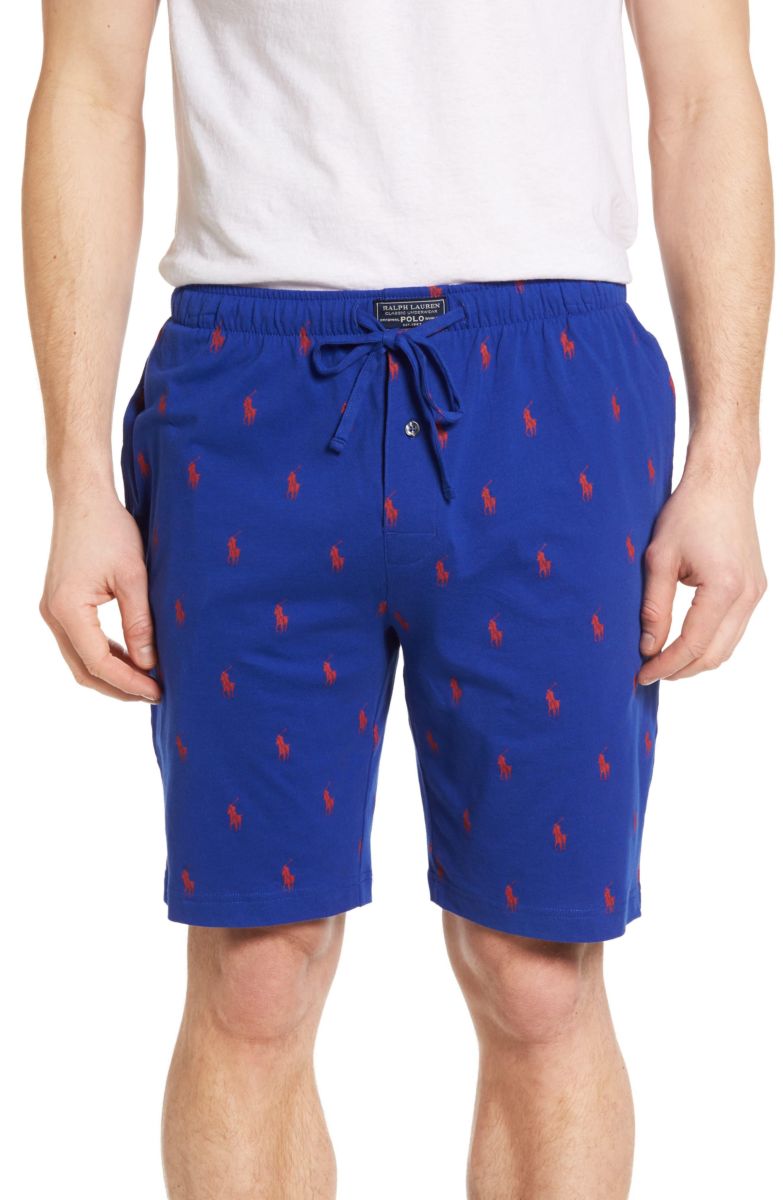 Cotton Sleep Shorts,                             Main thumbnail 1, color,                             Logan Sapphire